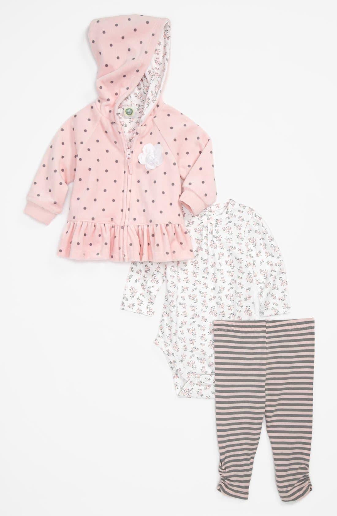 Main Image - Little Me 'Pretty Pink' Hoodie, Top & Leggings (Baby Girls)
