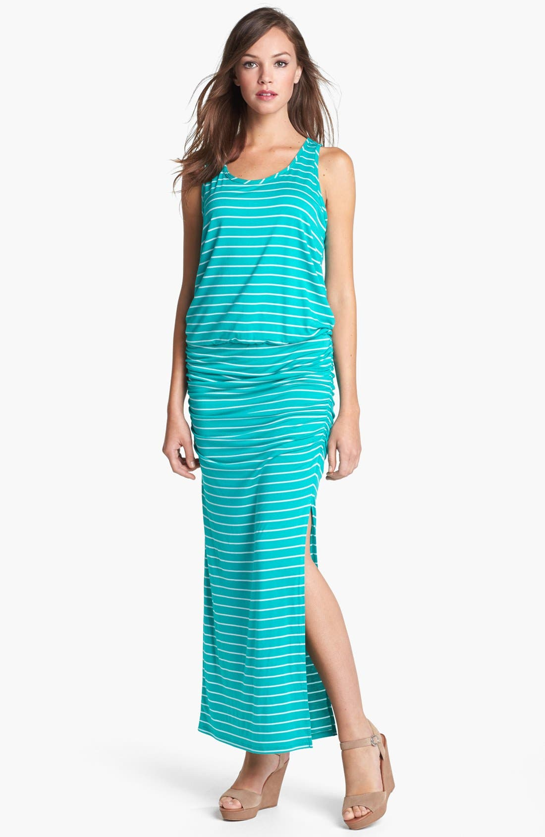Main Image - Olivia Moon Ruched Stripe Maxi Dress