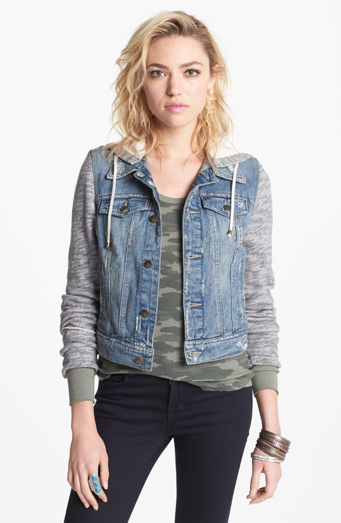 Alternate Image 1 Selected - Free People Denim & Knit Jacket