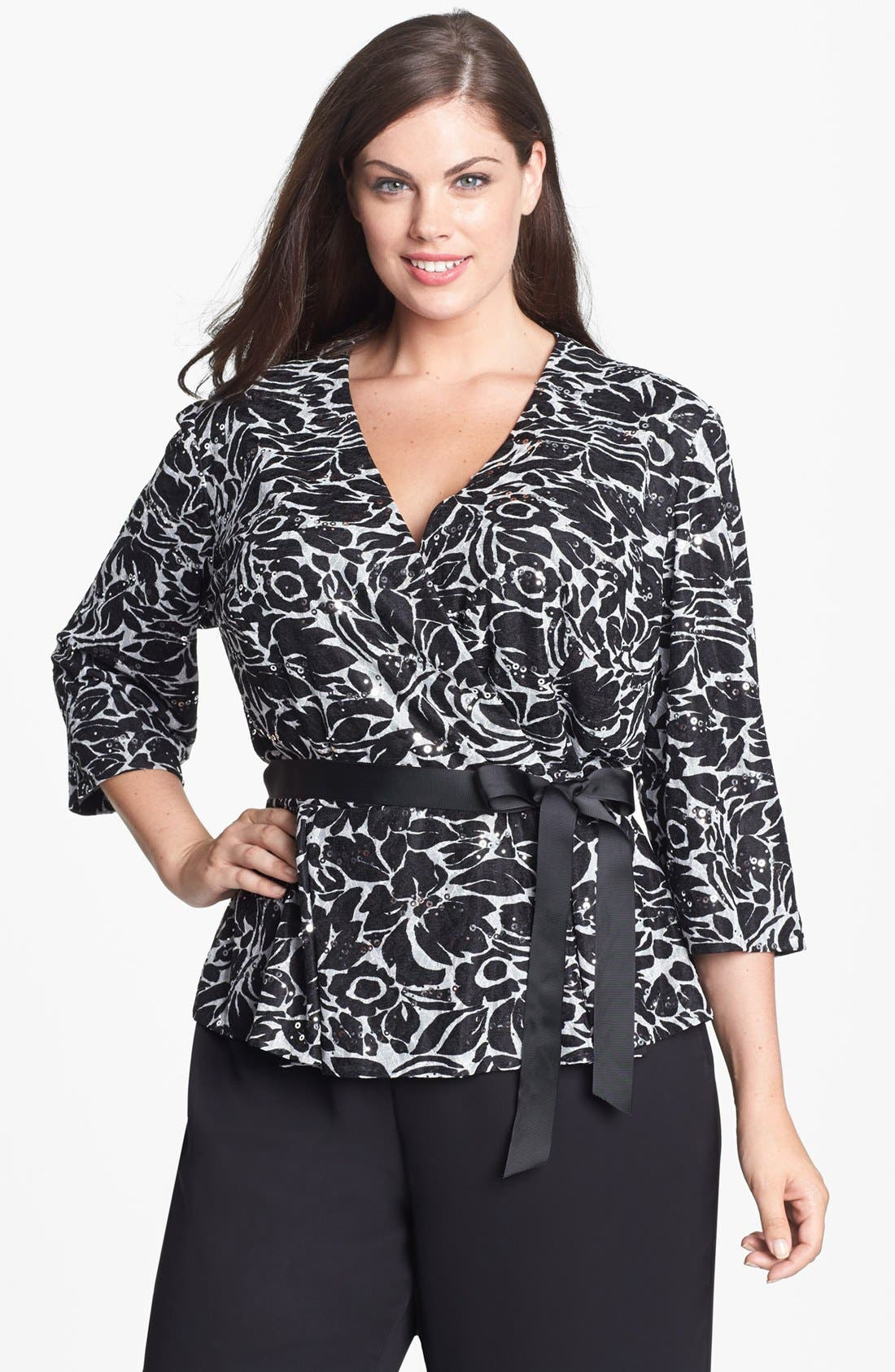 Alternate Image 1 Selected - Alex Evenings Embellished Faux Wrap Blouse (Plus Size)