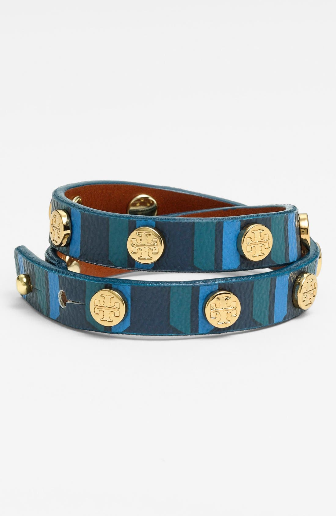 Alternate Image 1 Selected - Tory Burch Logo Leather Wrap Bracelet