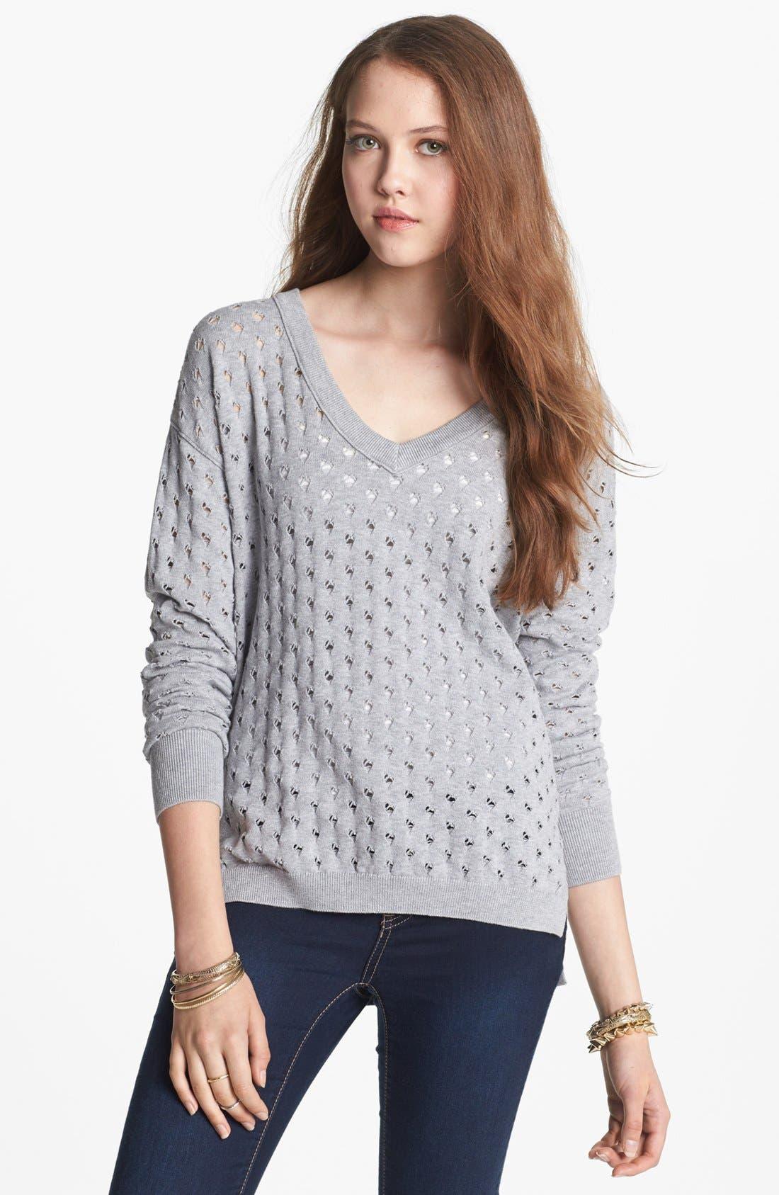 Alternate Image 1 Selected - BP. Pointelle V-Neck Sweater (Juniors)