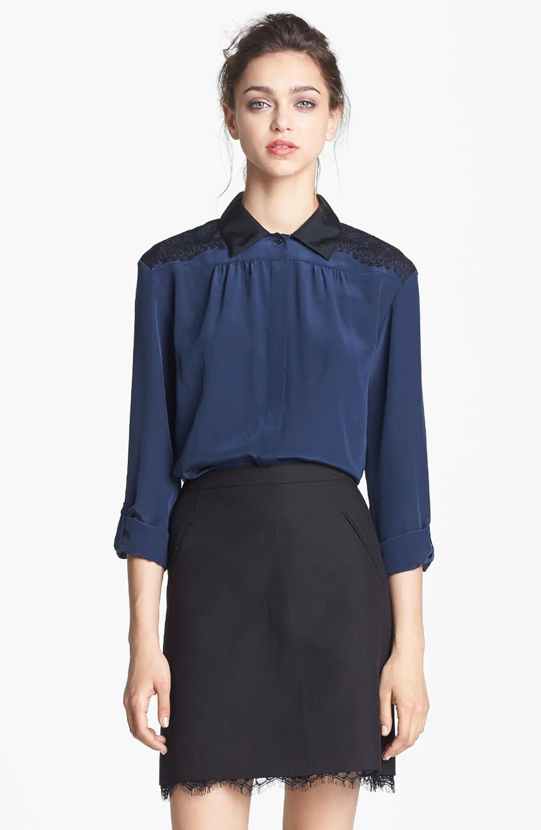 Alternate Image 1 Selected - Miss Wu Lace & Crêpe de Chine Blouse (Nordstrom Exclusive)
