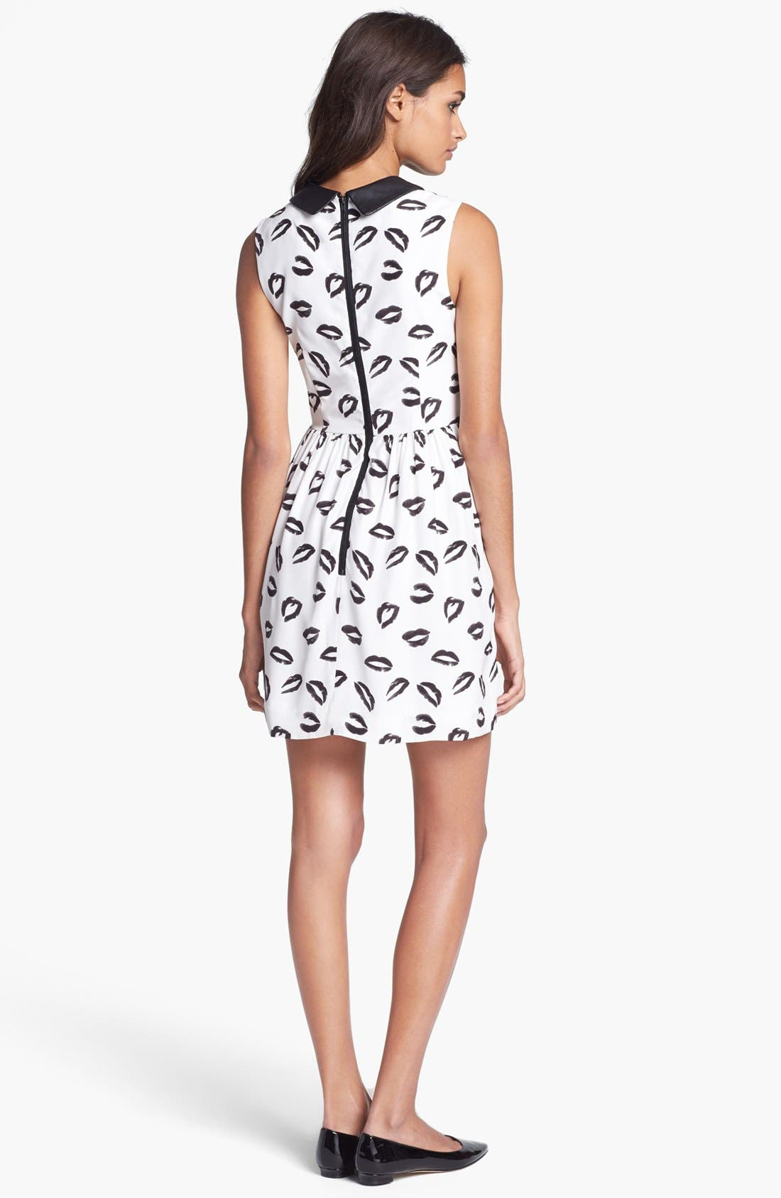 Alternate Image 2  - Milly Leather Collar Print Silk Dress