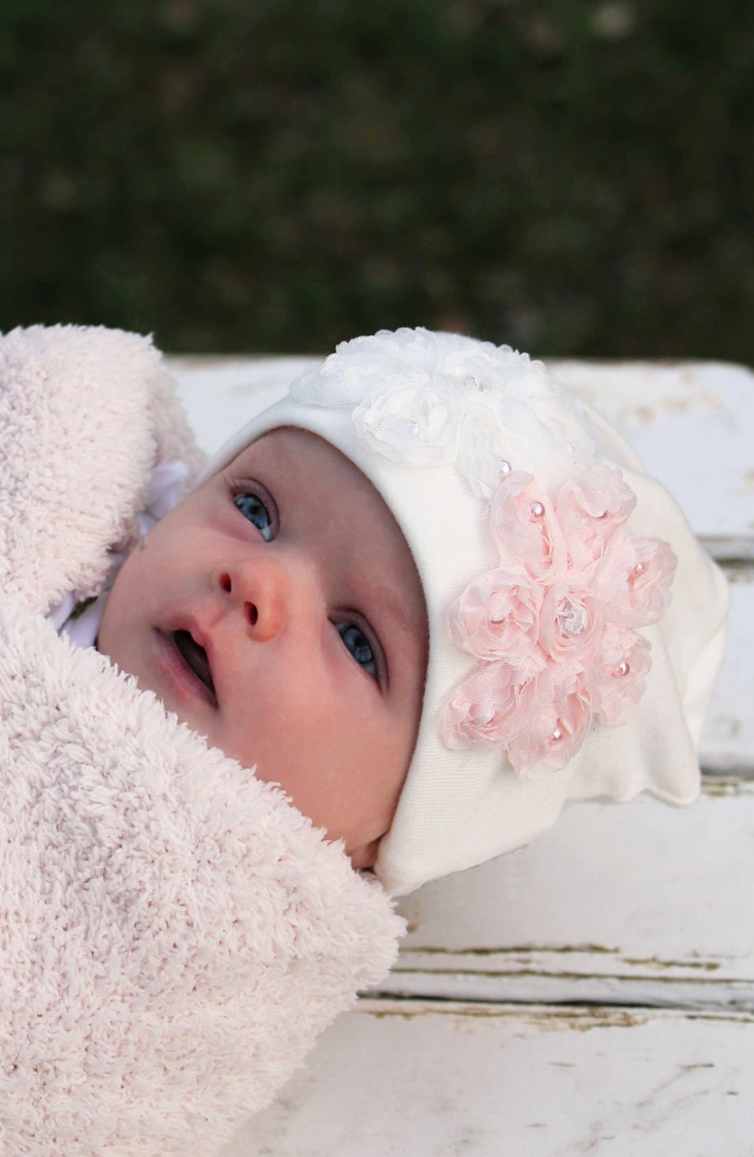 Alternate Image 2  - PLH Bows & Laces Flower Hat (Baby)
