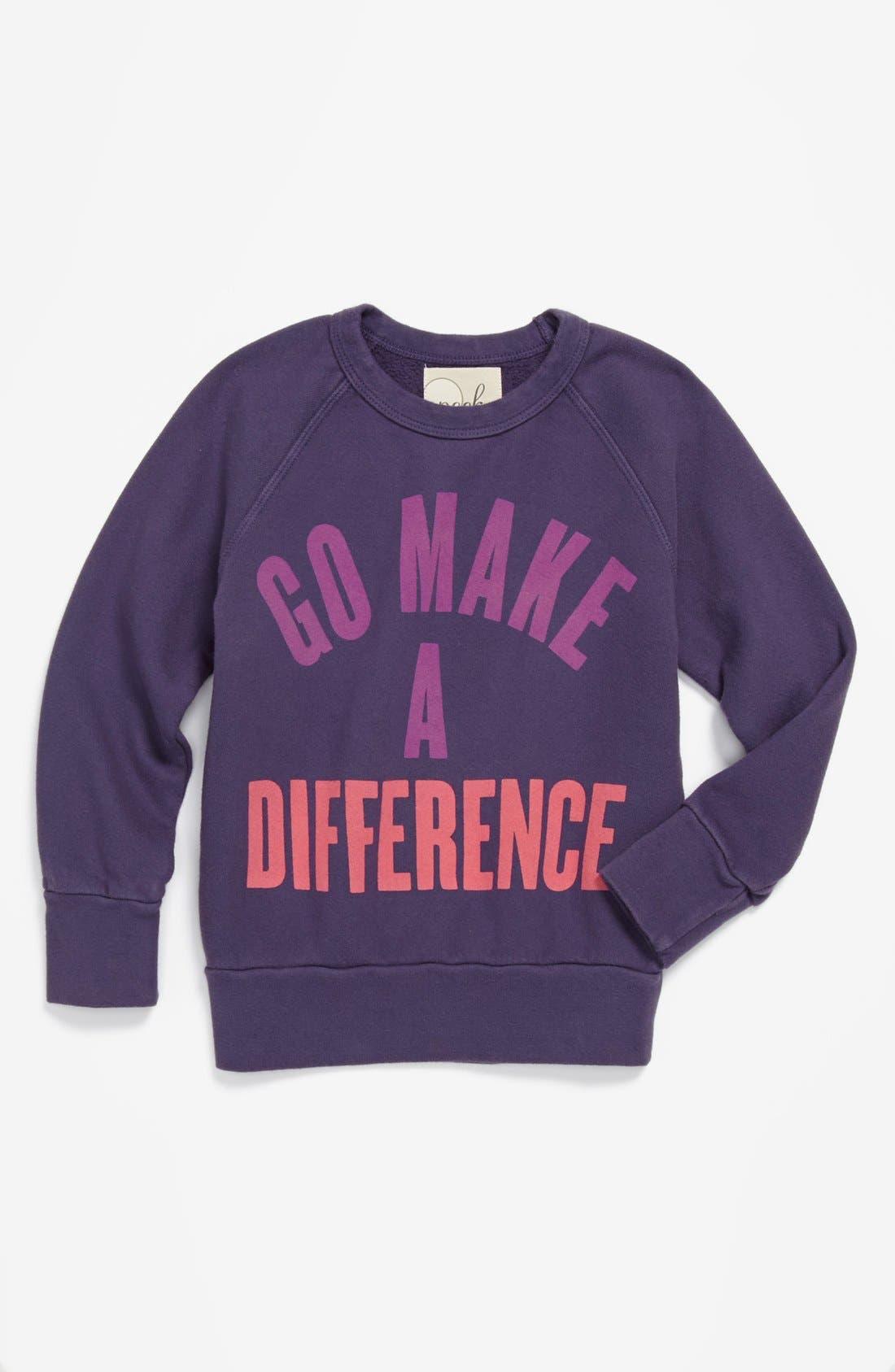 Alternate Image 1 Selected - Peek 'Go Make a Difference' Sweatshirt (Toddler Girls, Little Girls & Big Girls)