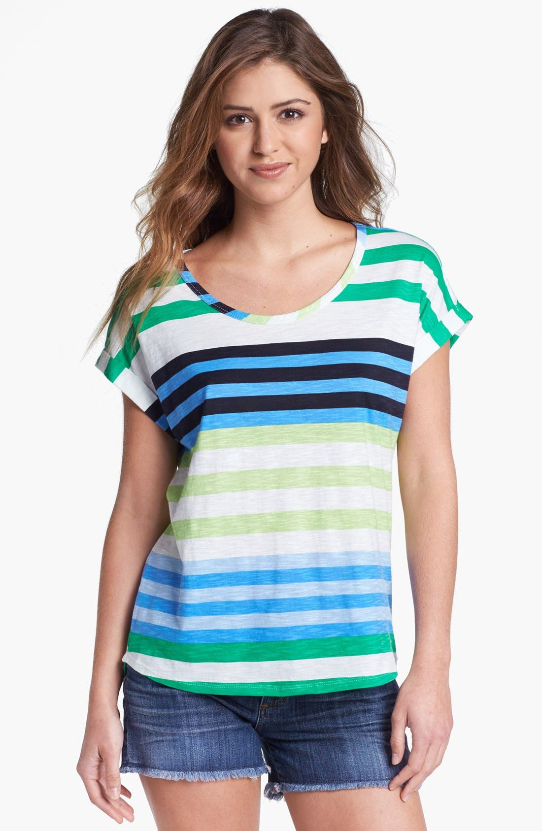 Alternate Image 1 Selected - Two by Vince Camuto Multi Stripe Tee