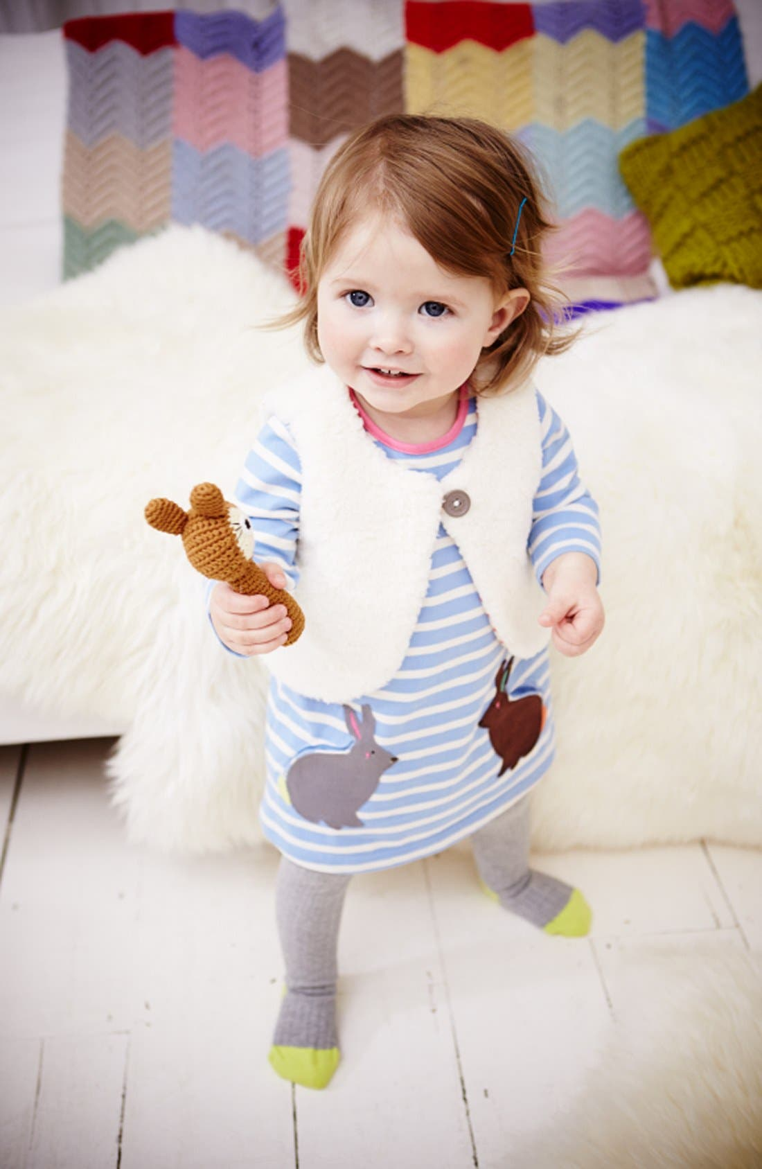 Alternate Image 2  - Mini Boden Stripe Jersey Dress (Baby Girls)