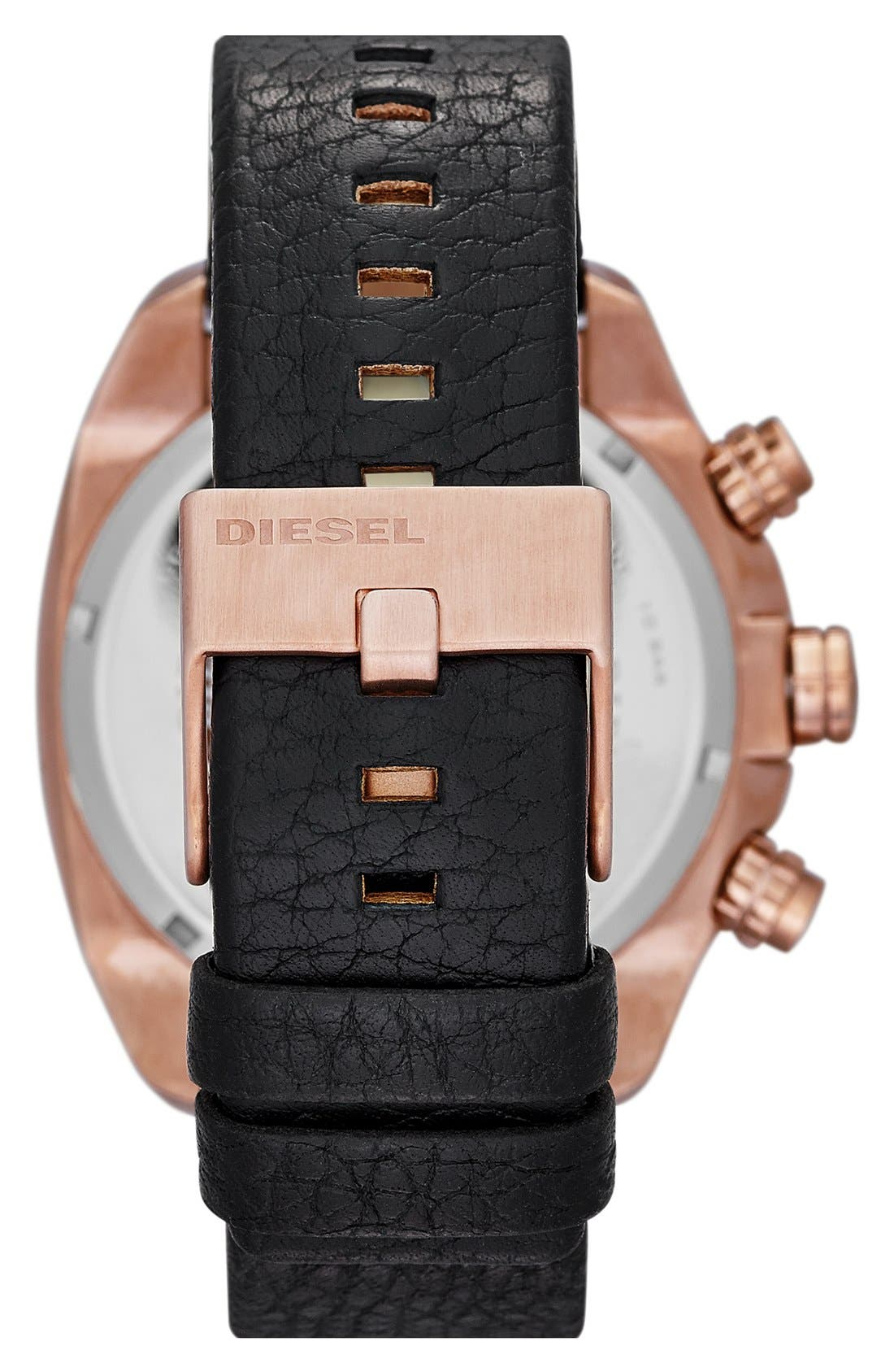 Alternate Image 2  - DIESEL® 'Overflow' Chronograph Leather Strap Watch, 46mm x 49mm