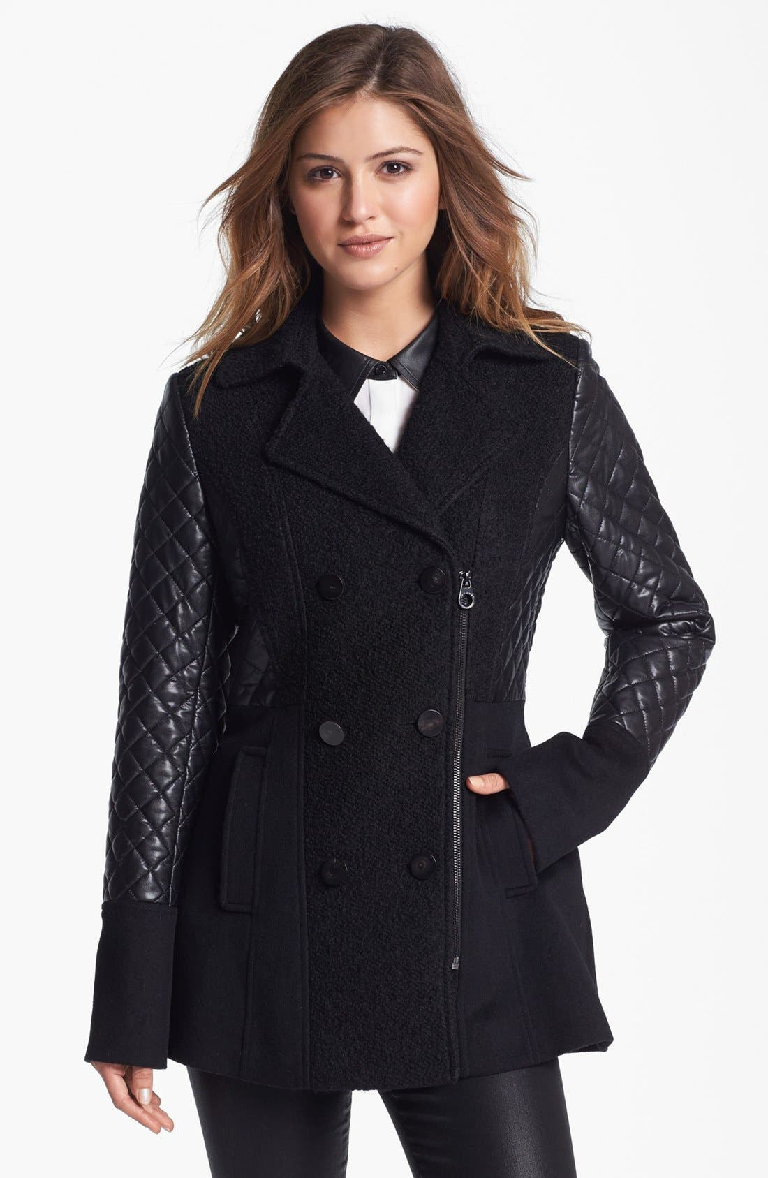 Alternate Image 1 Selected - Laundry by Shelli Segal Quilted Sleeve Mixed Media Peacoat