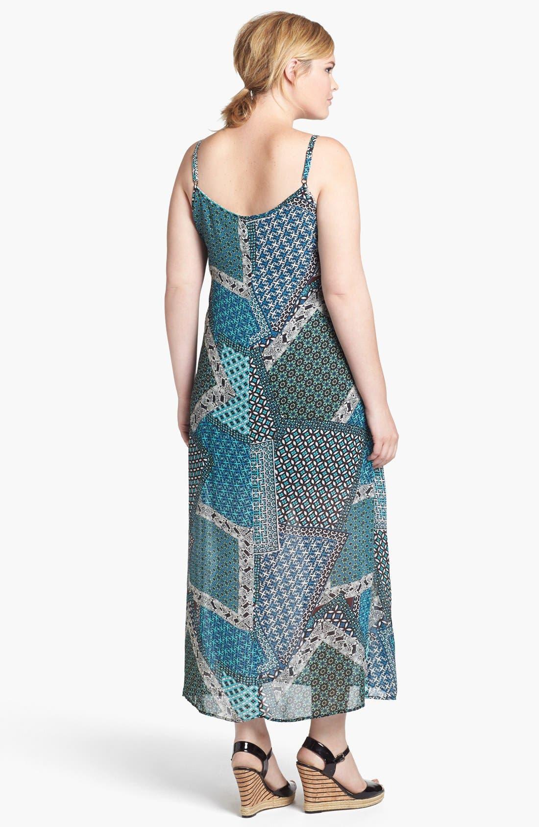 Alternate Image 2  - Mimi Chica Patchwork Print Maxi Dress (Juniors Plus)
