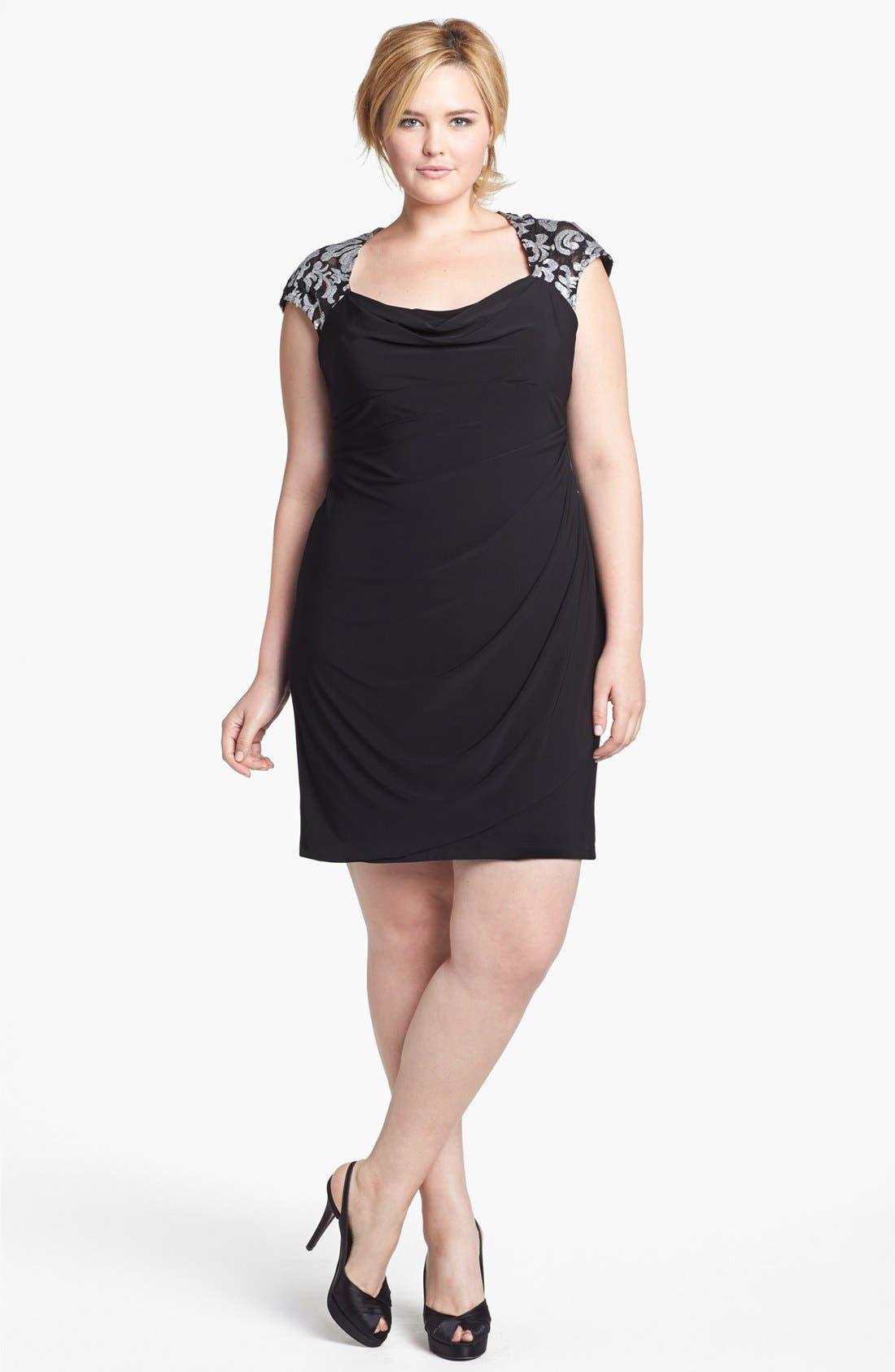 Alternate Image 1 Selected - Xscape Embellished Yoke Ruched Sheath Dress (Plus Size)