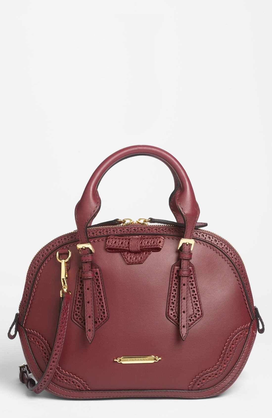 Alternate Image 1 Selected - Burberry 'Orchard - Small' Brogued Leather Satchel