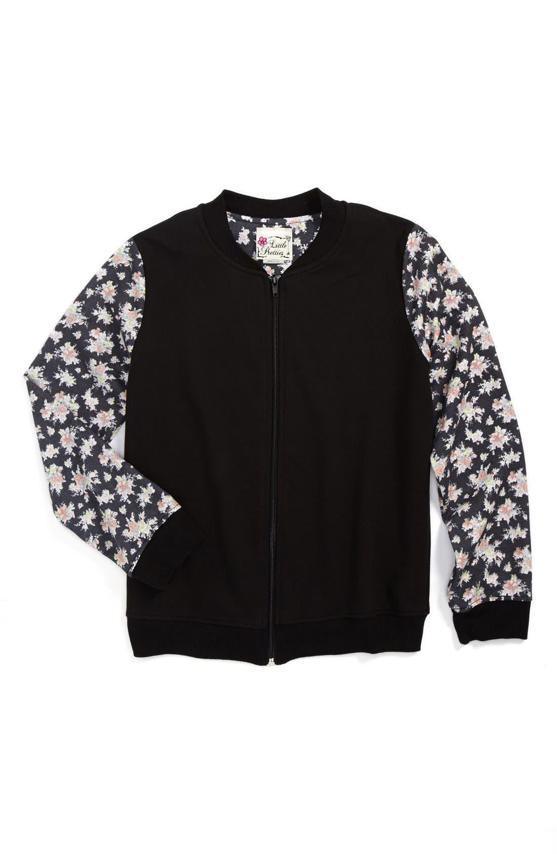 Alternate Image 1 Selected - Little Pretties Floral Sleeve Bomber Jacket (Big Girls)