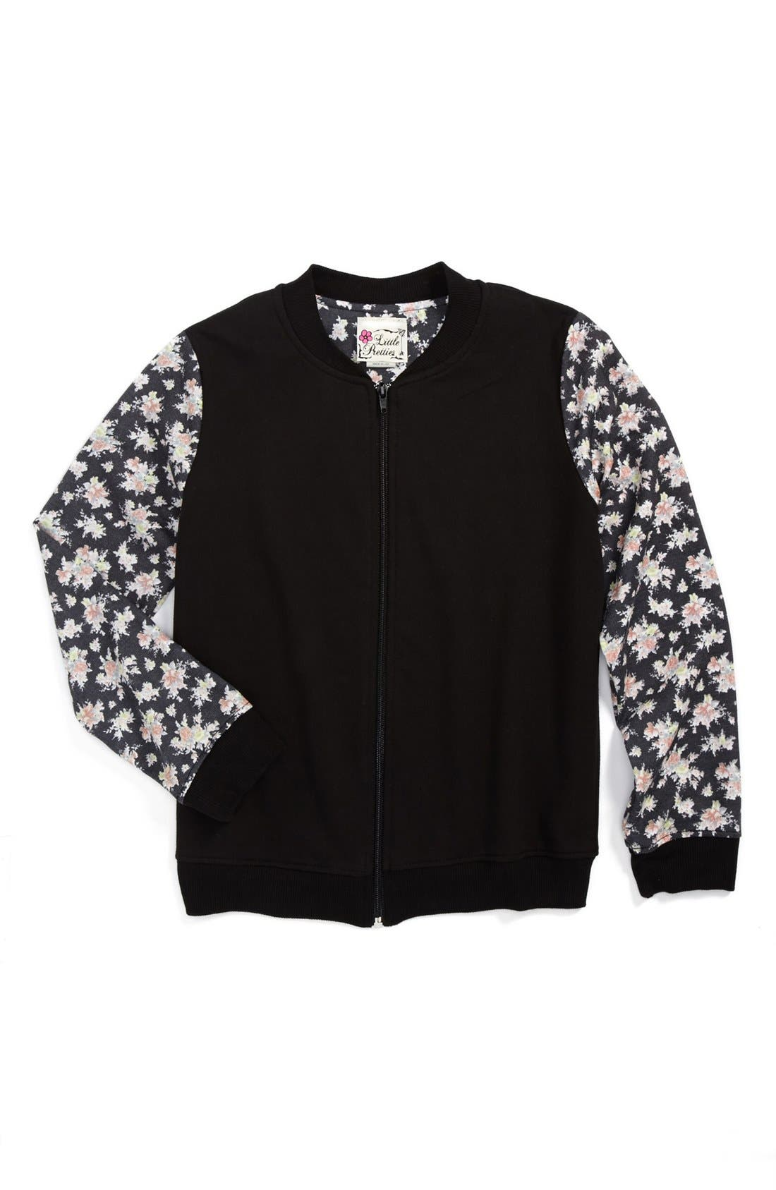 Main Image - Little Pretties Floral Sleeve Bomber Jacket (Big Girls)