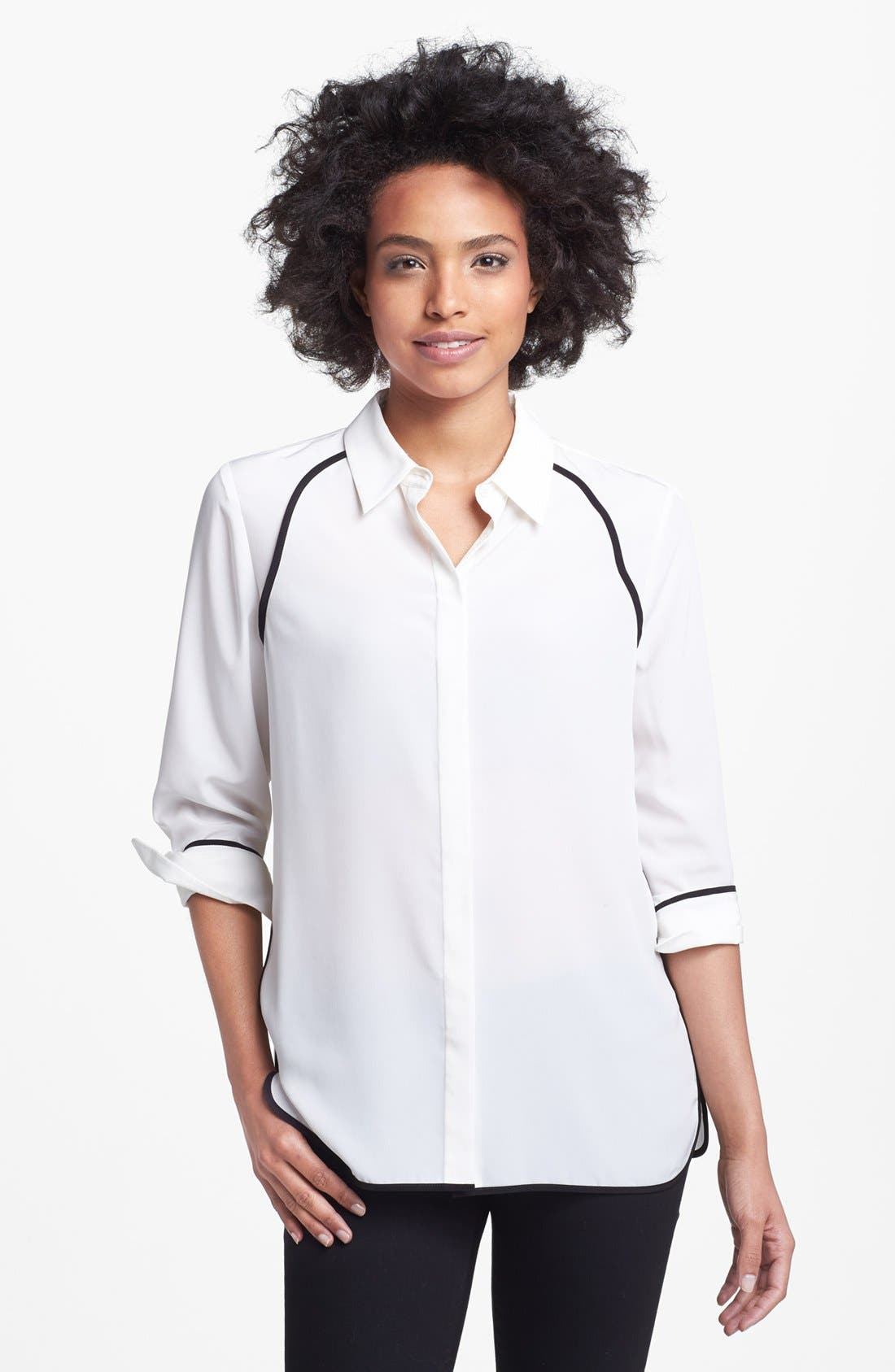 Alternate Image 1 Selected - Vince Camuto Contrast Trim Blouse
