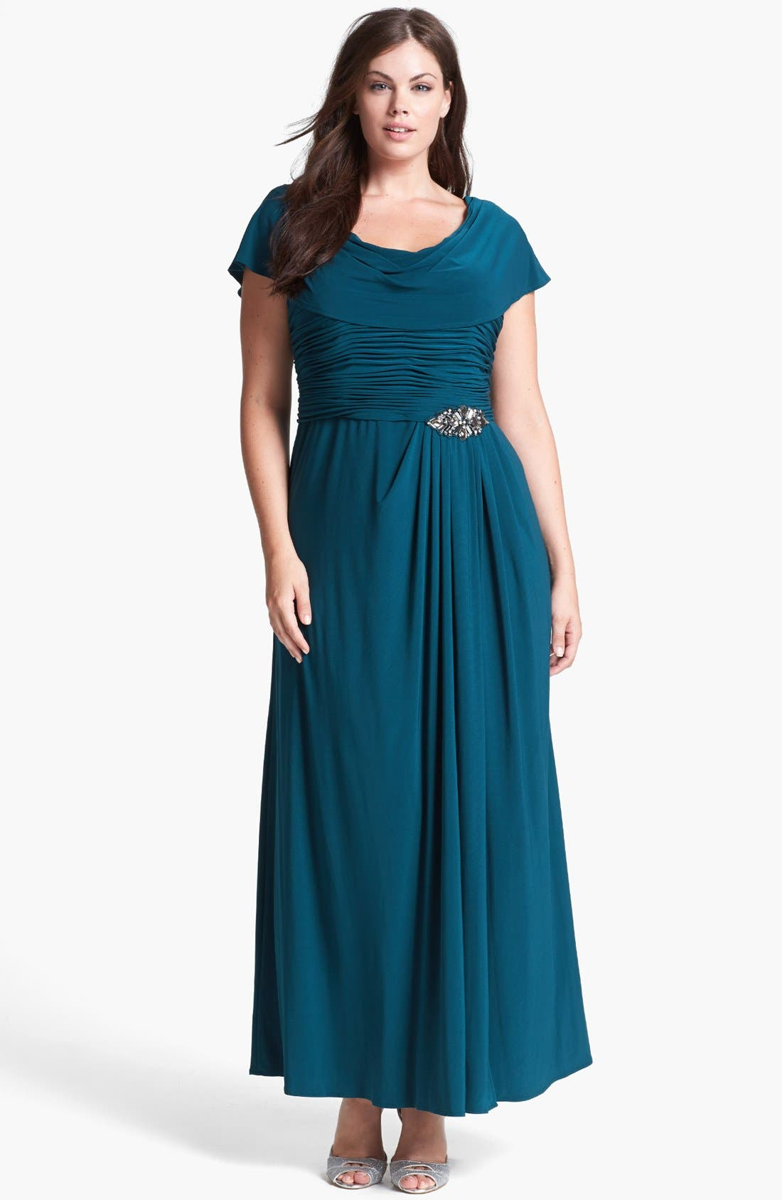 Main Image - Patra Draped Neckline Embellished Jersey Gown (Plus Size)