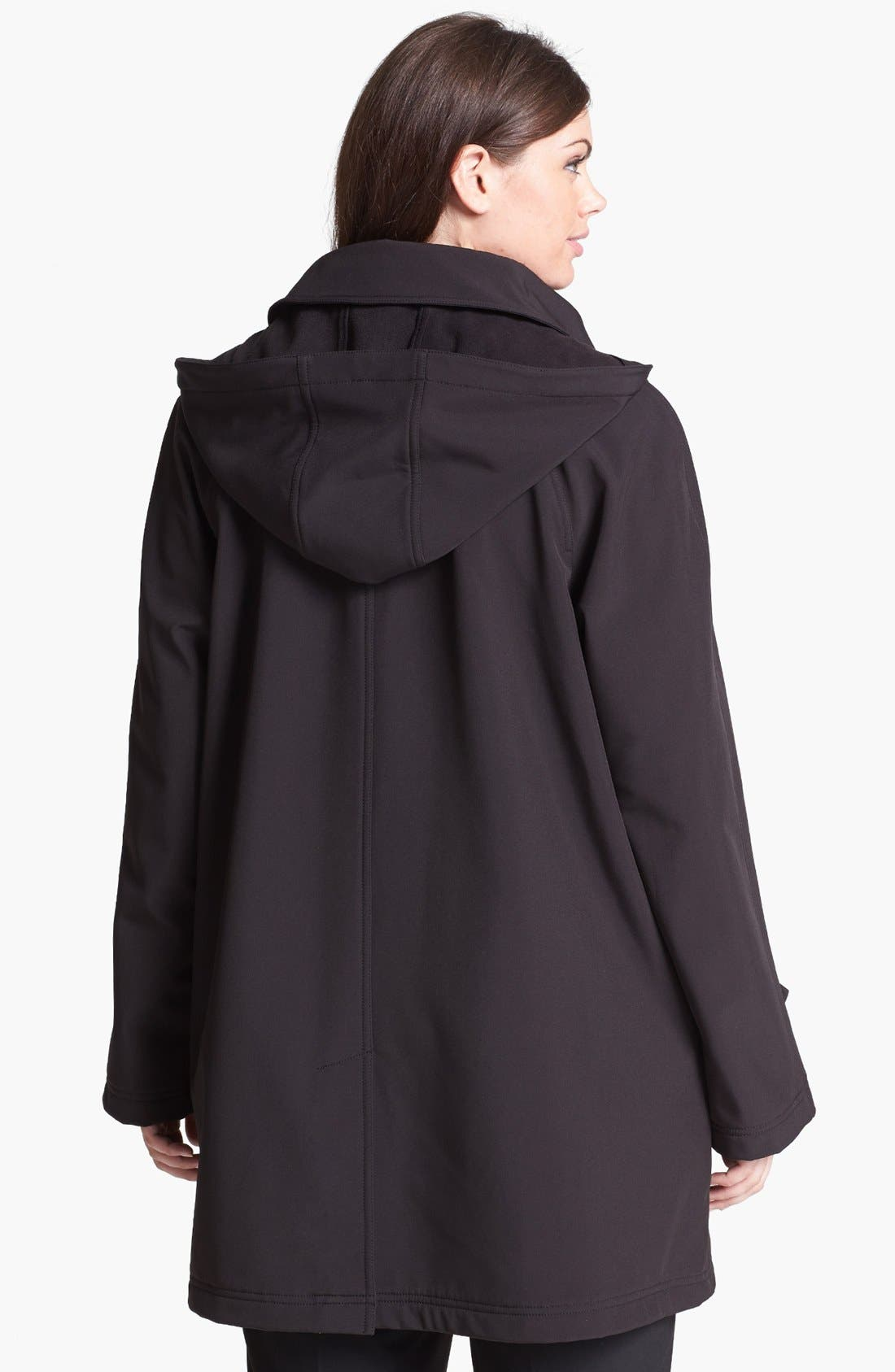 Alternate Image 2  - Gallery Soft Shell Swing Coat with Detachable Hood (Plus Size)