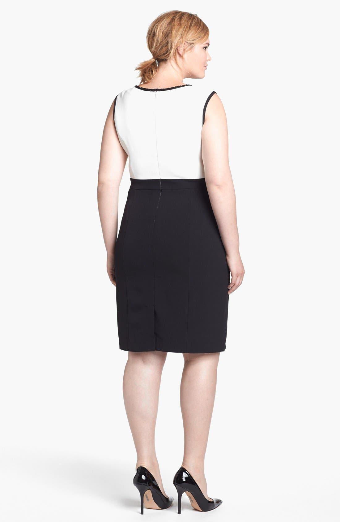 Alternate Image 2  - Adrianna Papell Embellished Crepe Sheath Dress (Plus Size)