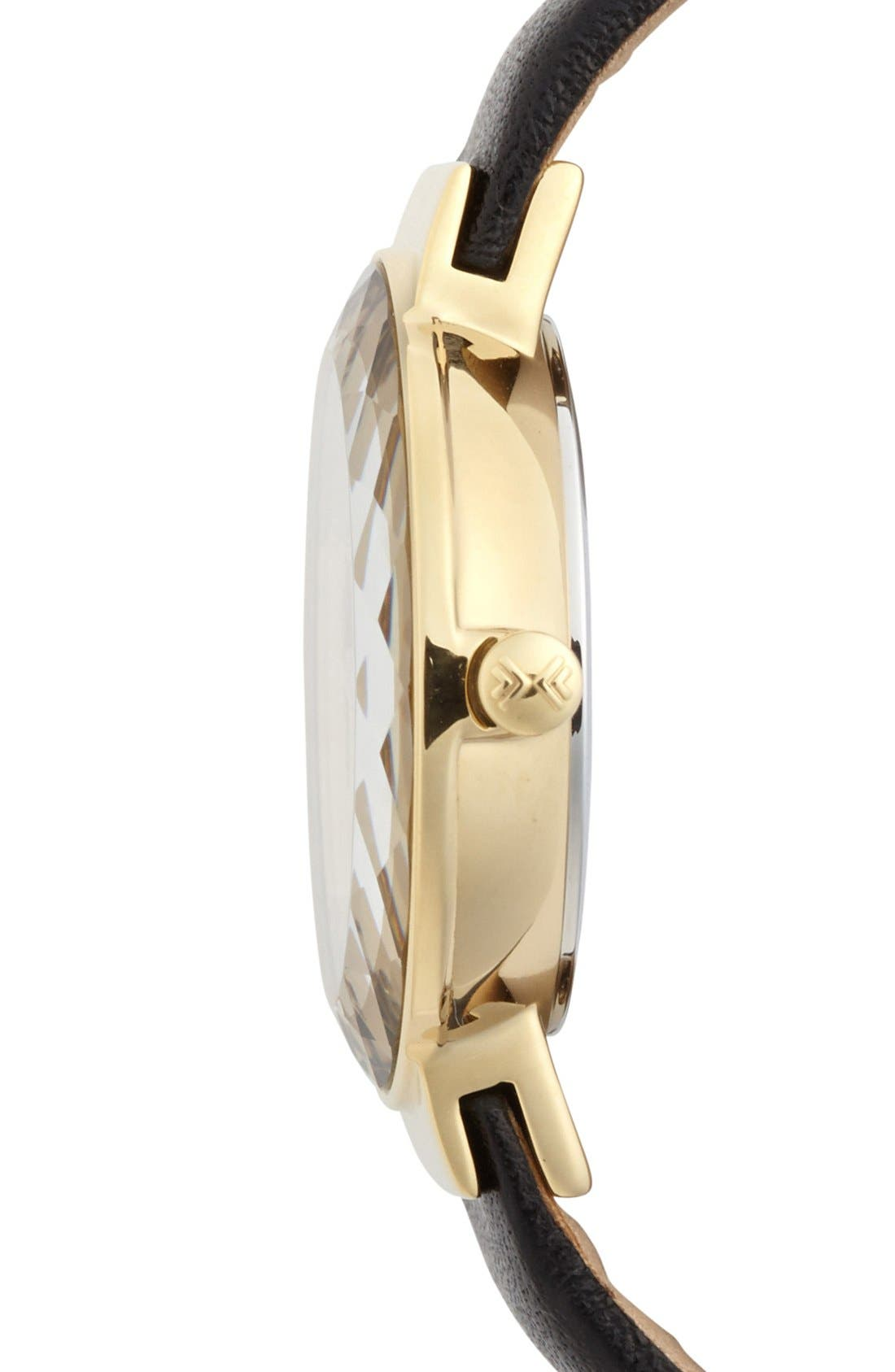 Alternate Image 3  - Skagen Faceted Bezel Leather Strap Watch, 25mm