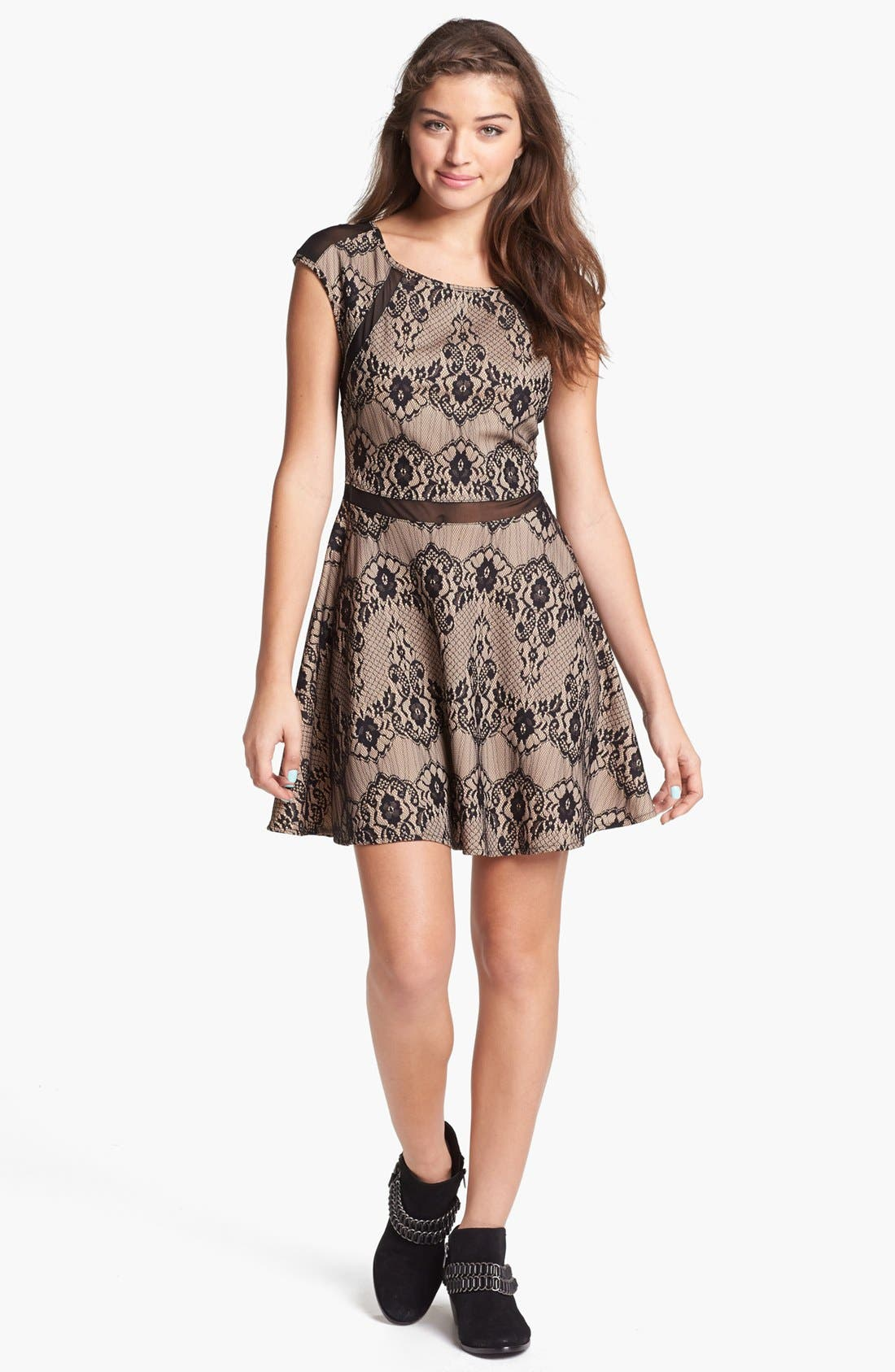 Main Image - Trixxi Mesh Trim Skater Dress (Juniors)