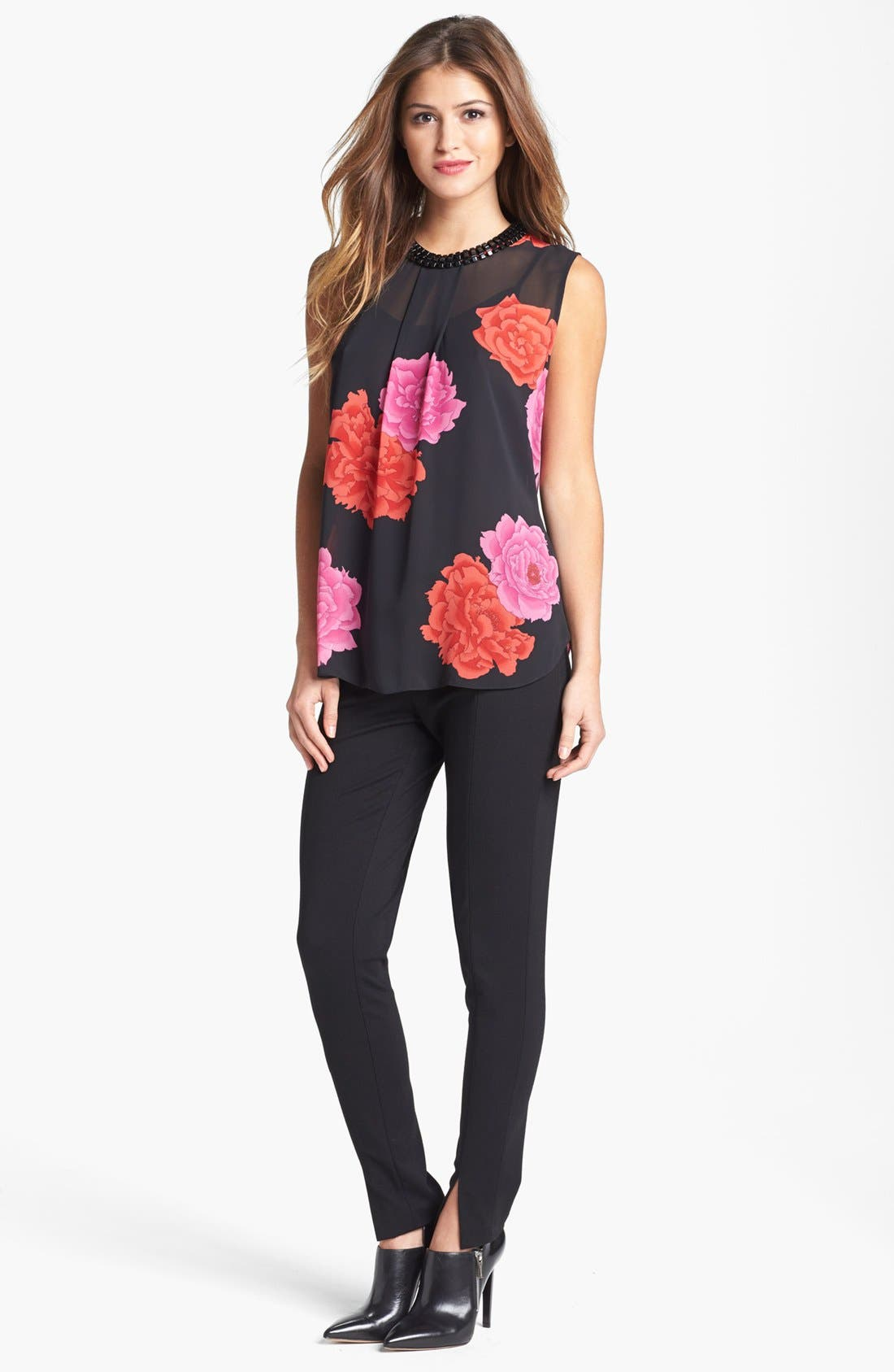 Main Image - Vince Camuto 'Peonies' Embellished Blouse
