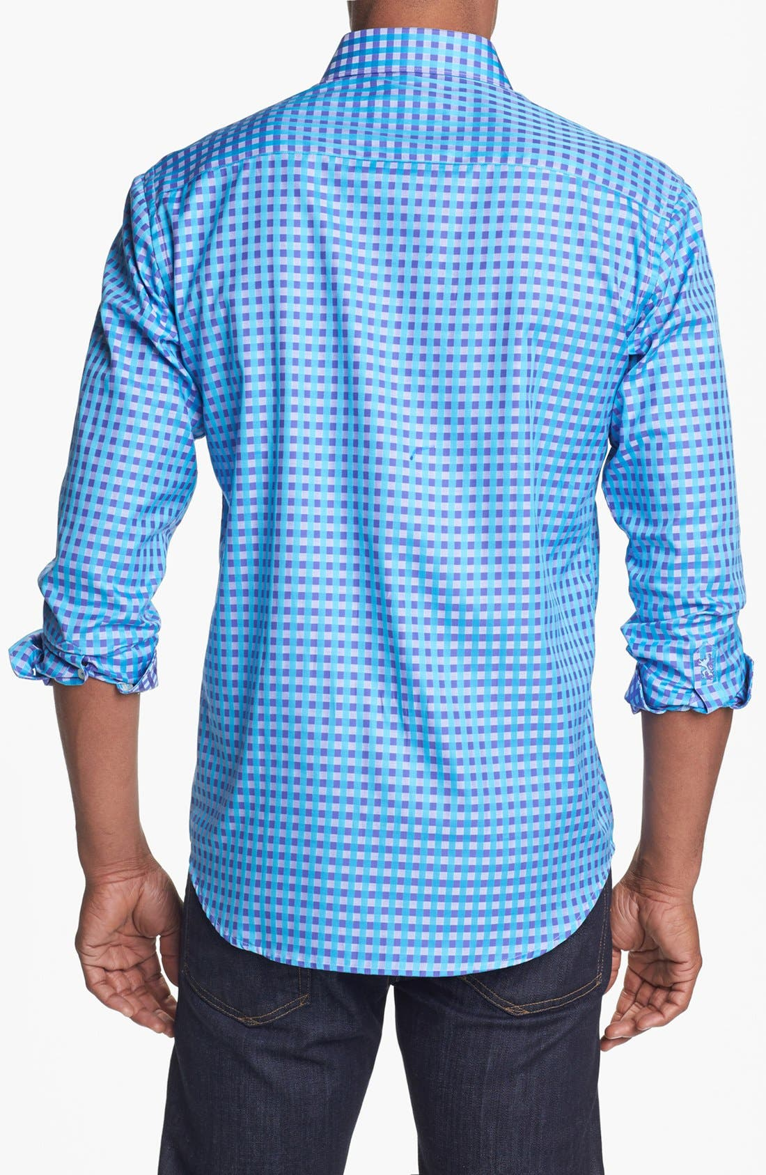 Alternate Image 2  - Bugatchi Gingham Shaped Fit Cotton Sport Shirt (Tall)