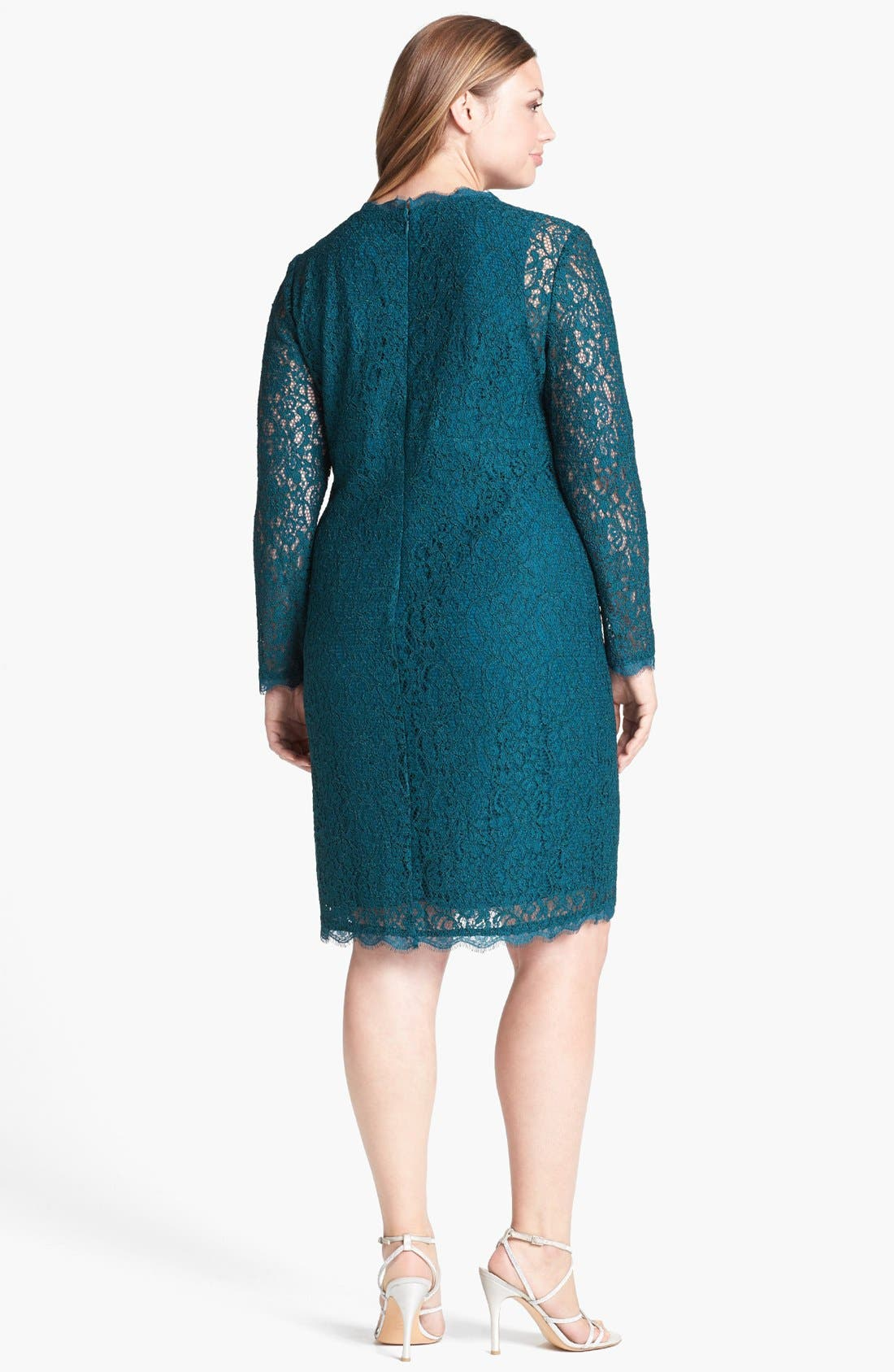 Alternate Image 2  - Adrianna Papell Lace Sheath Dress (Plus Size)