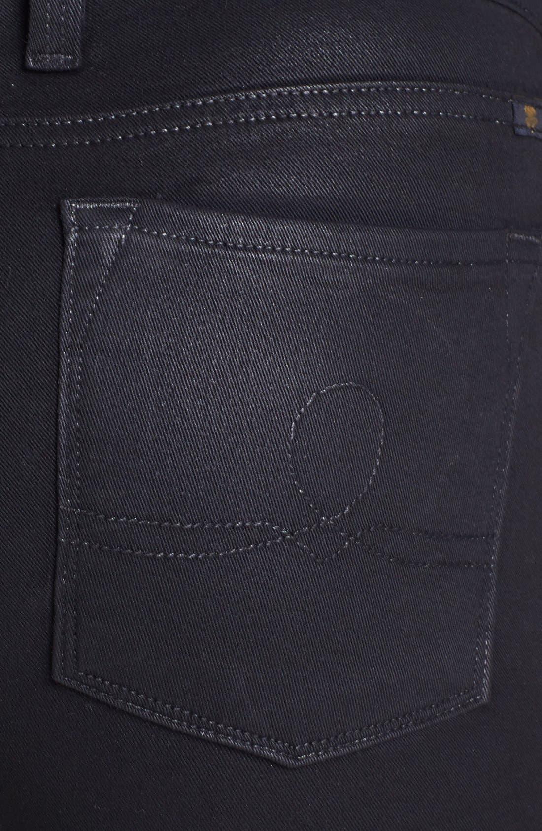 Alternate Image 5  - Lucky Brand 'Sofia' Coated Skinny Jeans (Black)