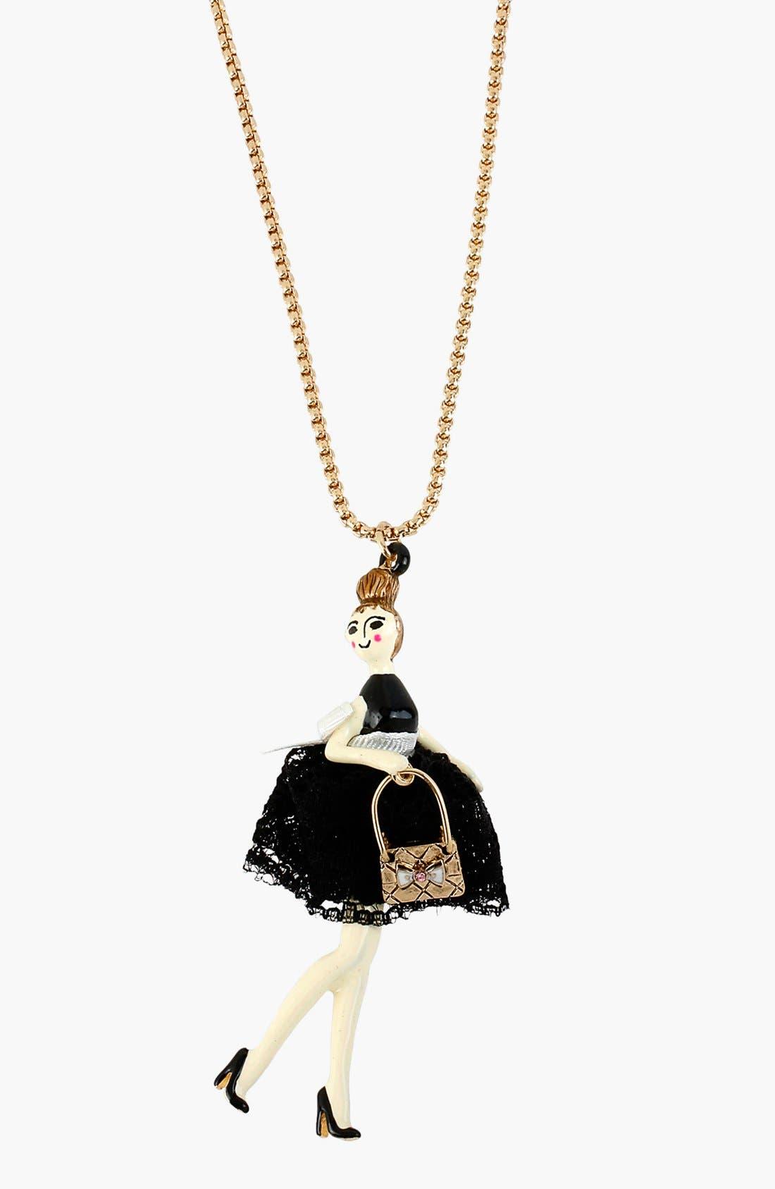 Main Image - Betsey Johnson 'Paris' Long Girl Pendant Necklace
