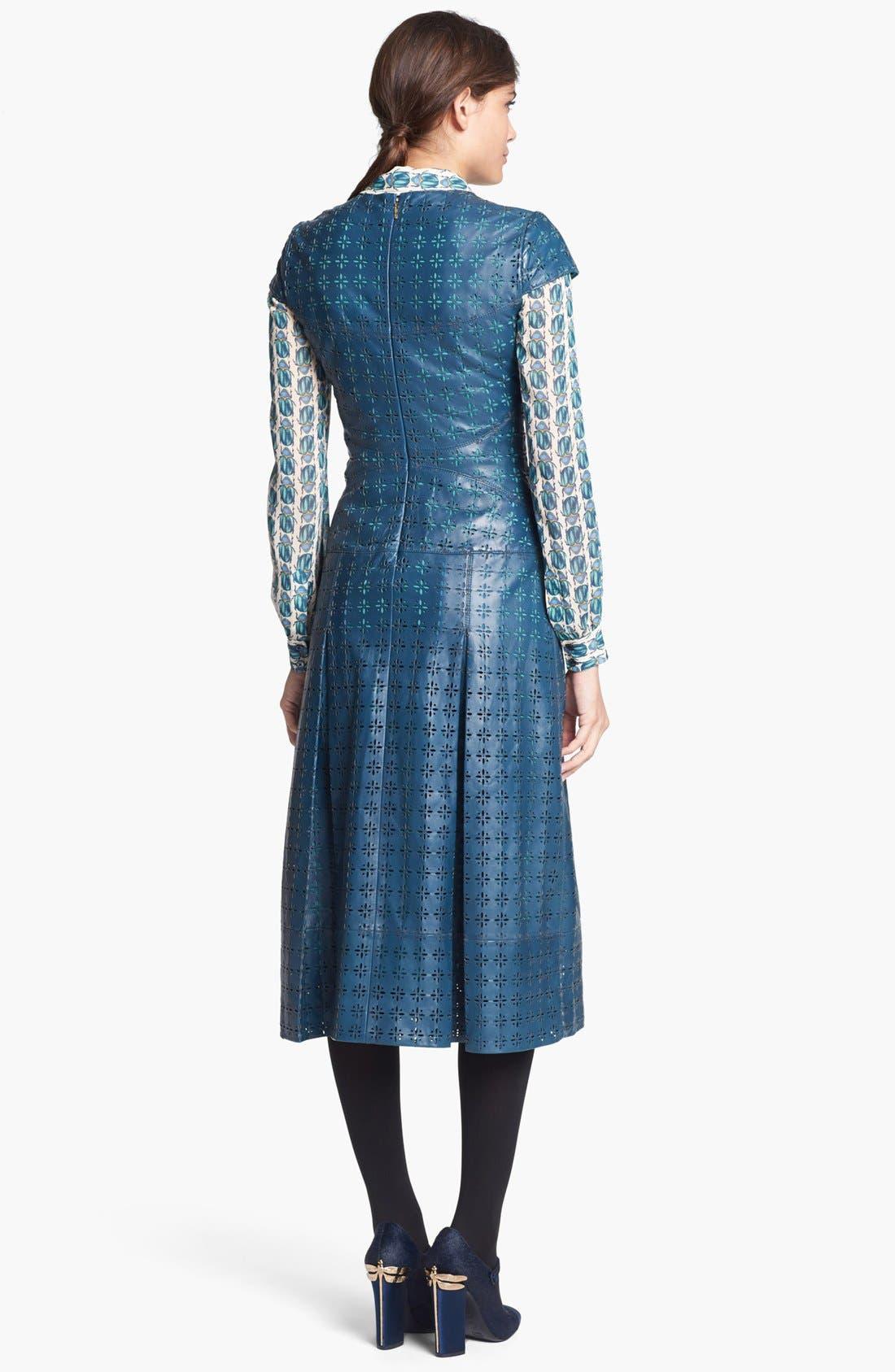 Alternate Image 2  - Tory Burch 'Collins' Leather Midi Dress