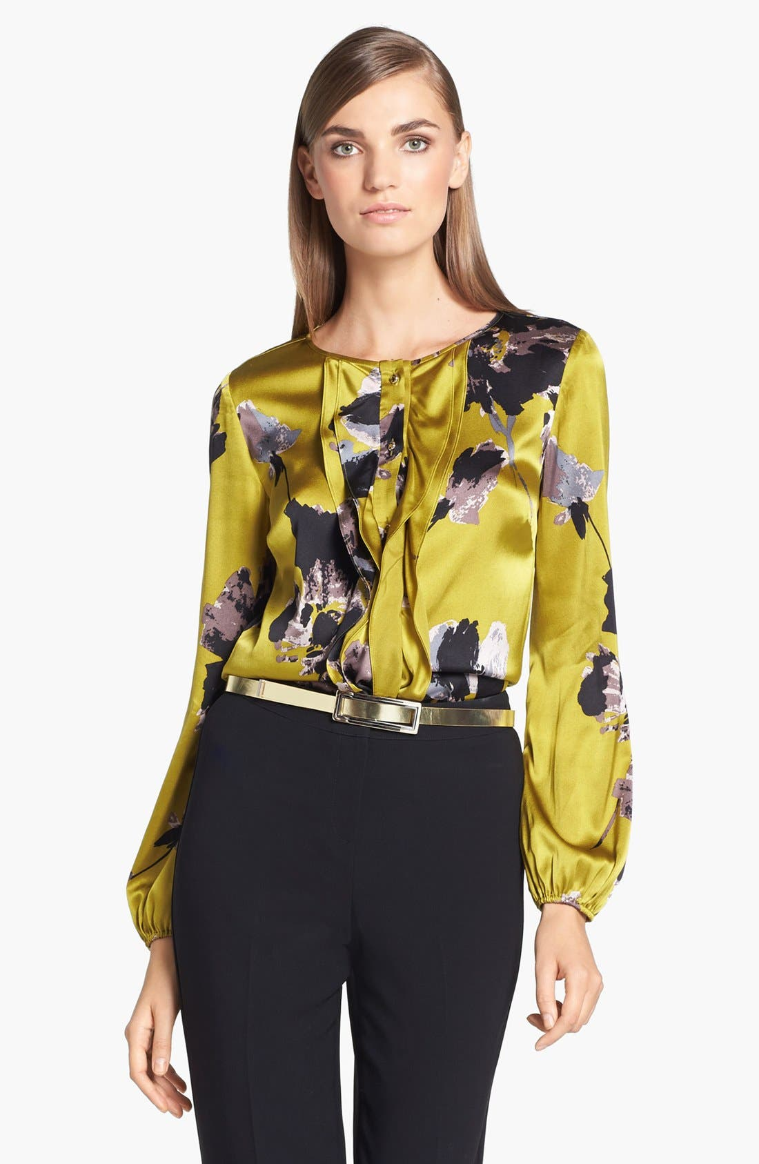 Main Image - St. John Collection Bouquet Print Silk Charmeuse Blouse