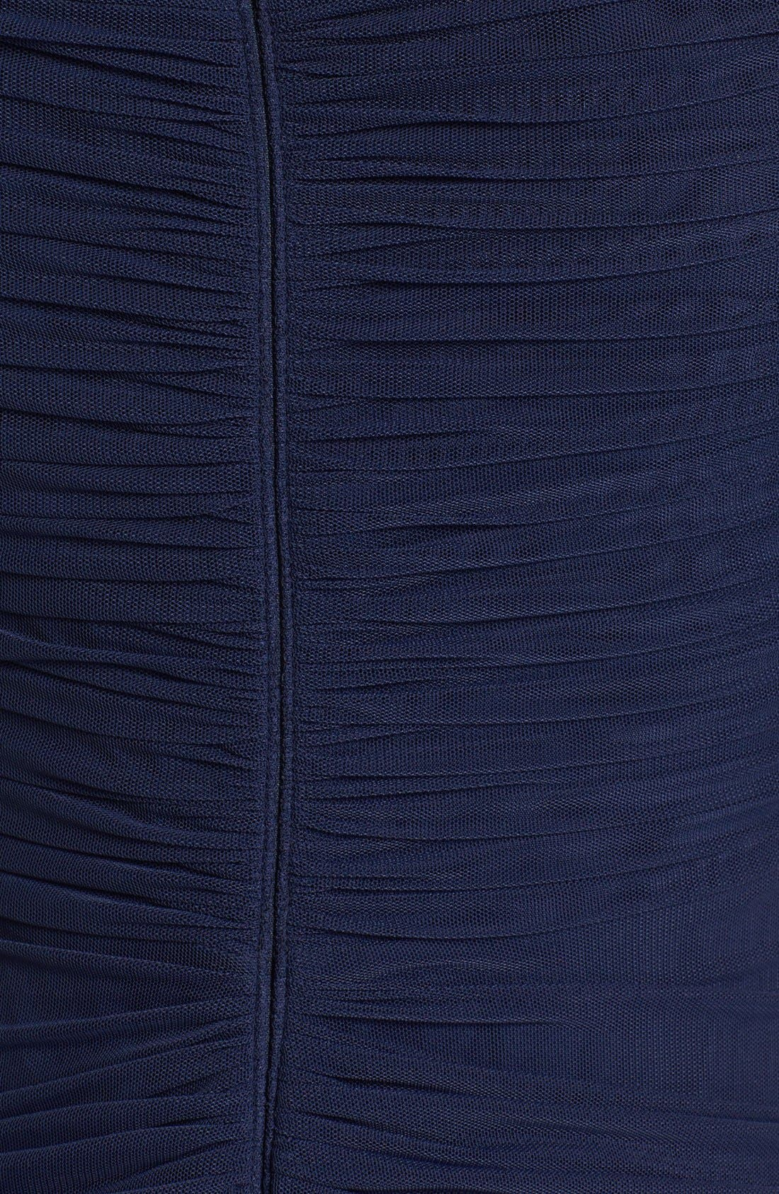 Alternate Image 3  - Tadashi Shoji Asymmetrical Ruched Mesh Gown