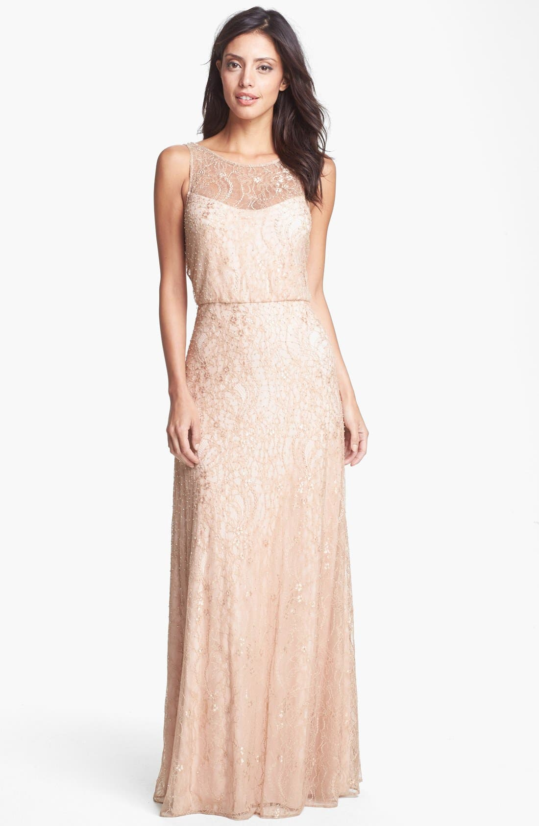 Alternate Image 1 Selected - Aidan Mattox Embellished Lace Gown