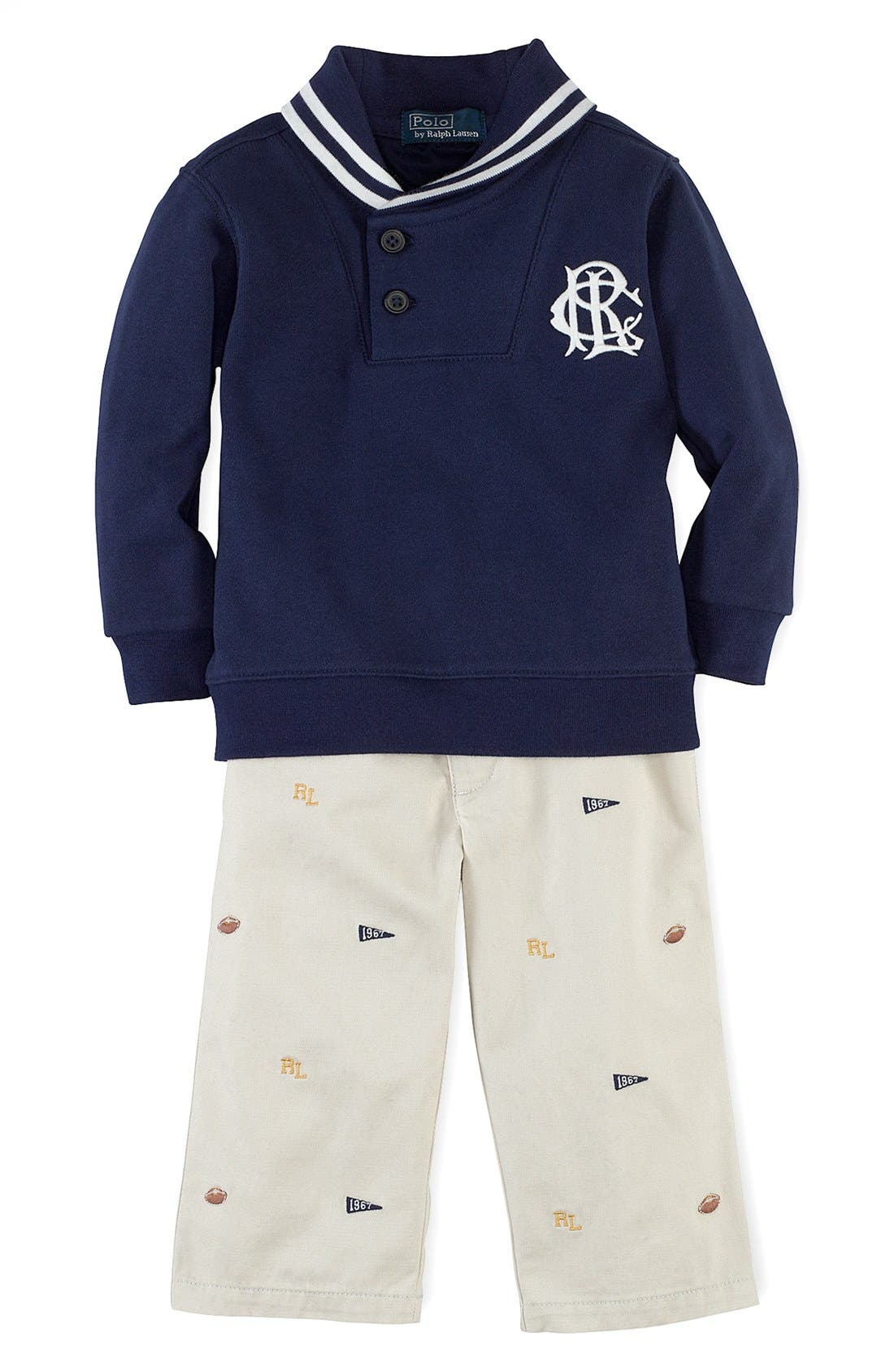 Alternate Image 1 Selected - Ralph Lauren Sweater & Pants (Baby Boys)