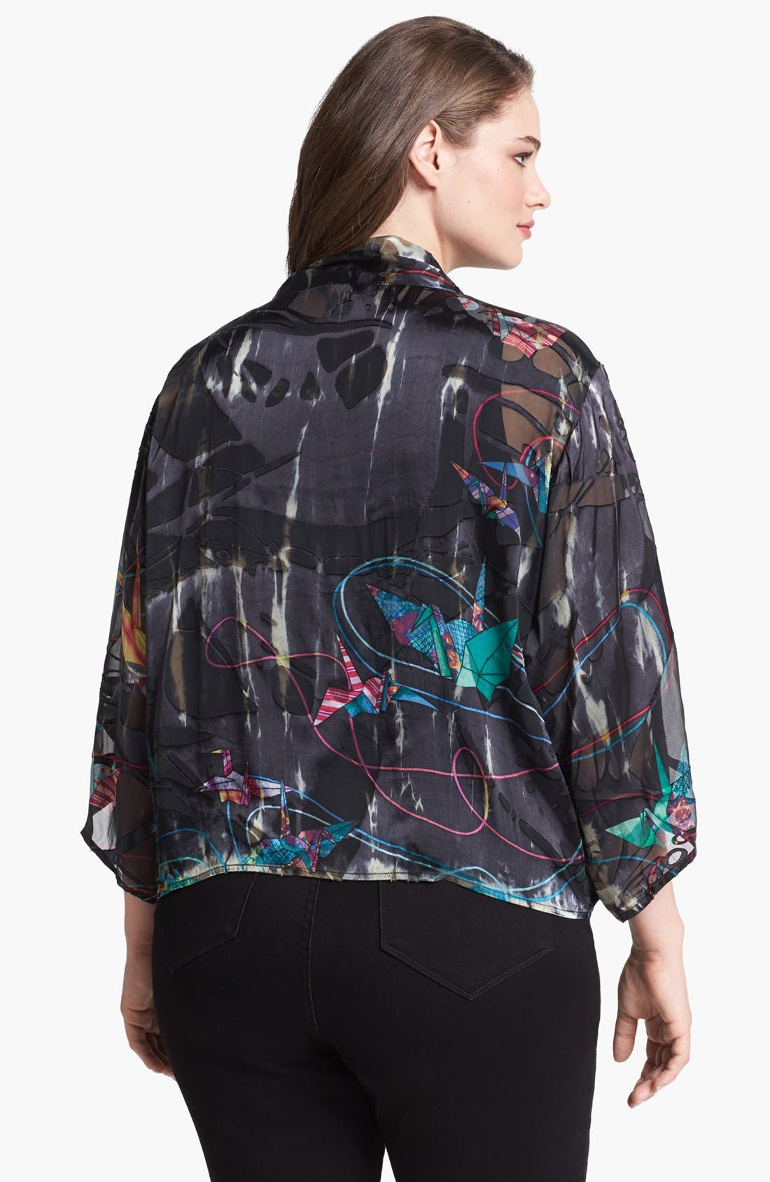 Alternate Image 2  - Citron Print Open Front Silk Blend Jacket (Plus Size)