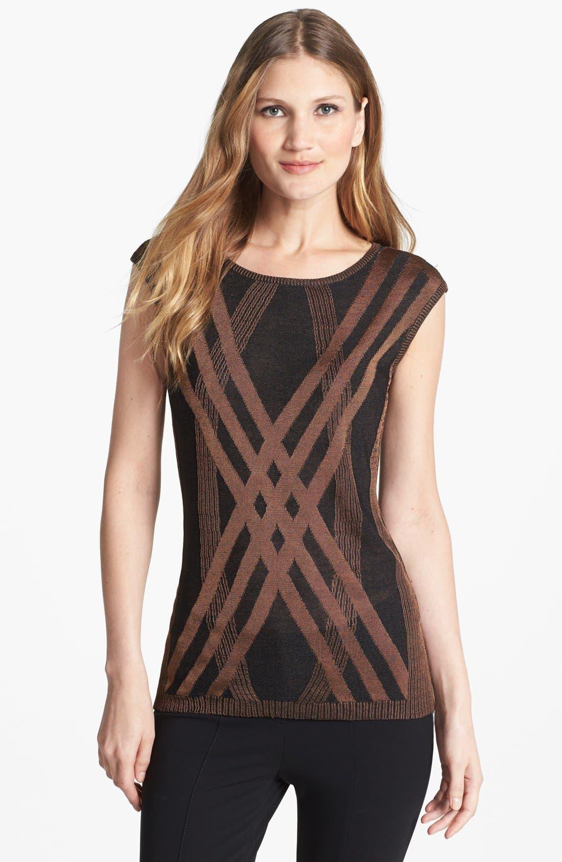 Alternate Image 1 Selected - NIC+ZOE 'Criss Cross' Silk Blend Knit Top