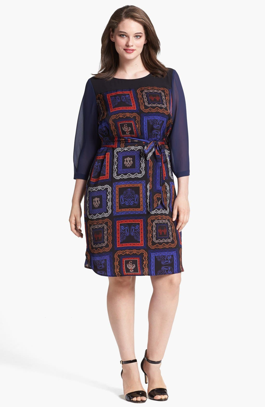 Alternate Image 1 Selected - DKNYC Print Chiffon Shirtdress (Plus Size)
