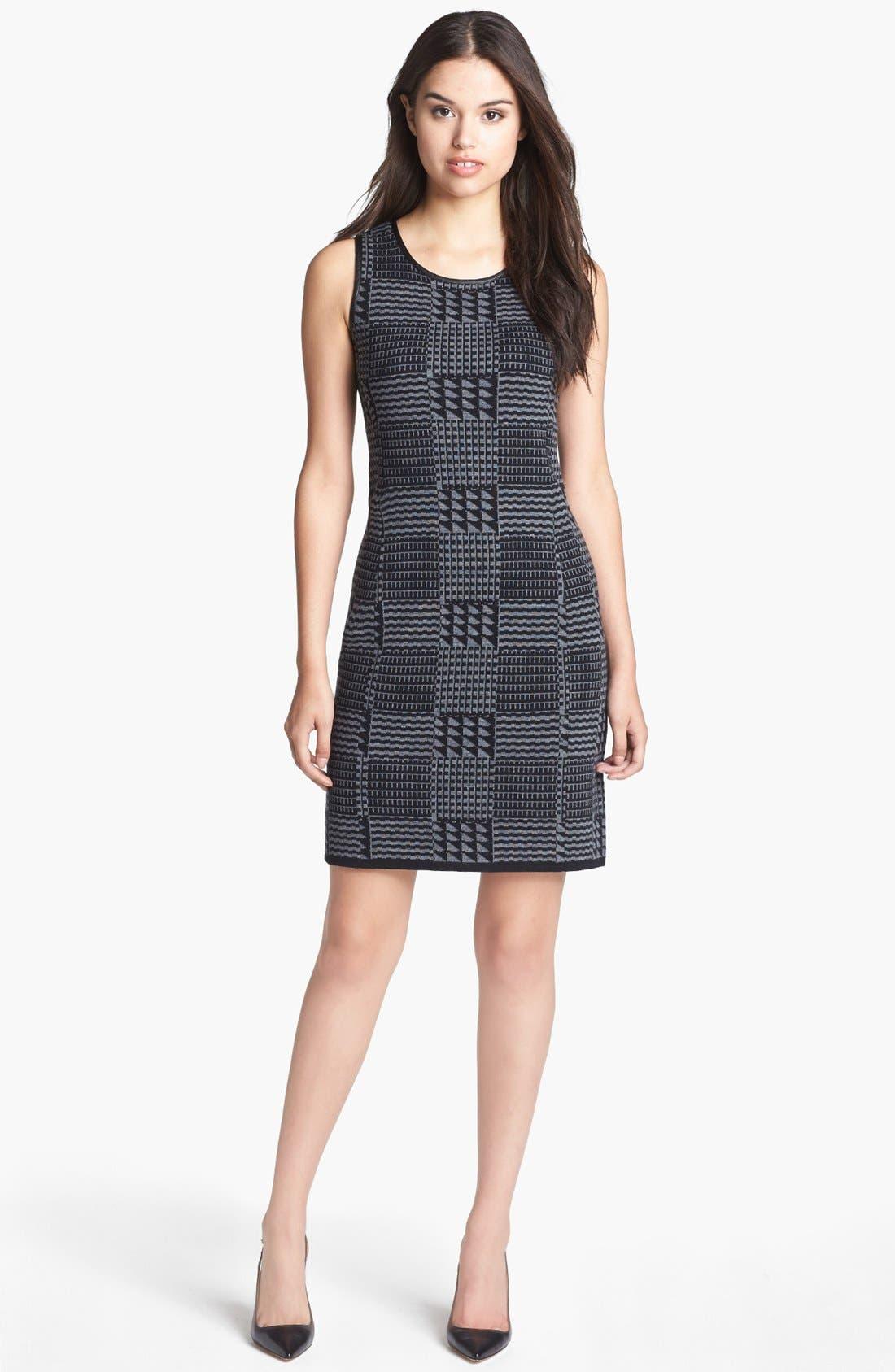 Main Image - Halogen® Faux Leather Trim Knit Sheath Dress