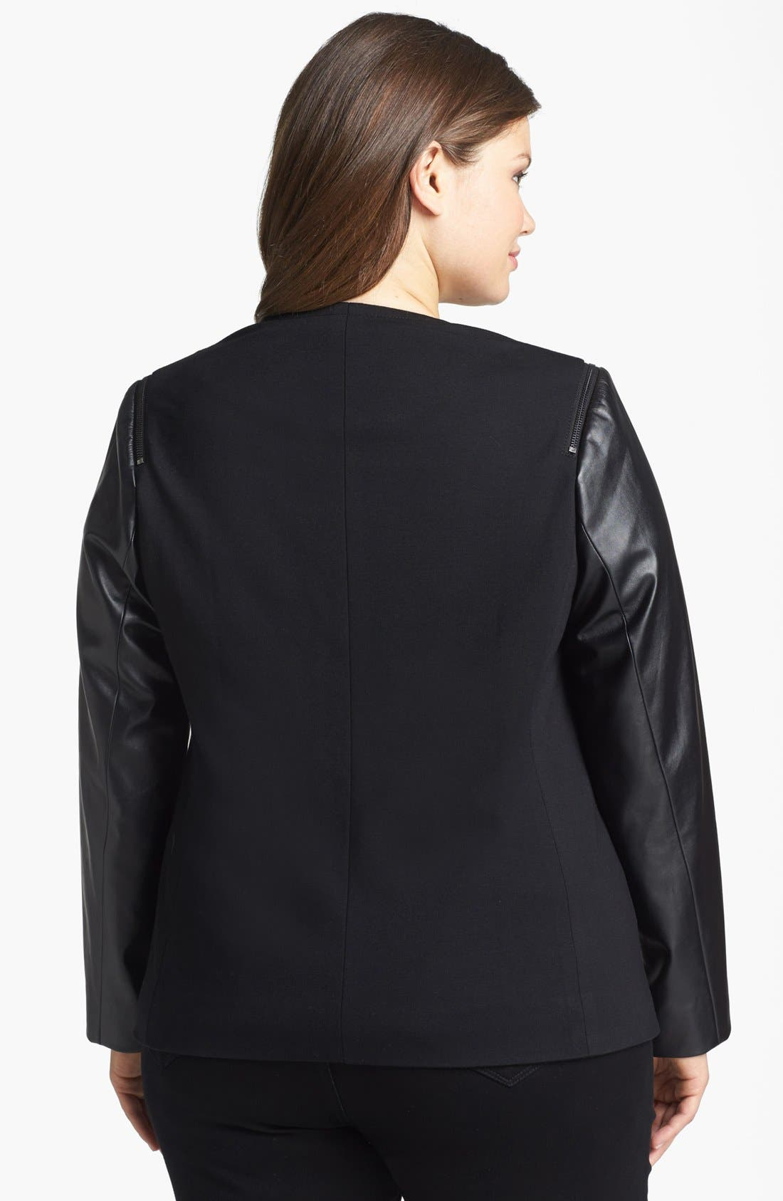 Alternate Image 2  - Vince Camuto Faux Leather & Knit Jacket (Plus Size)