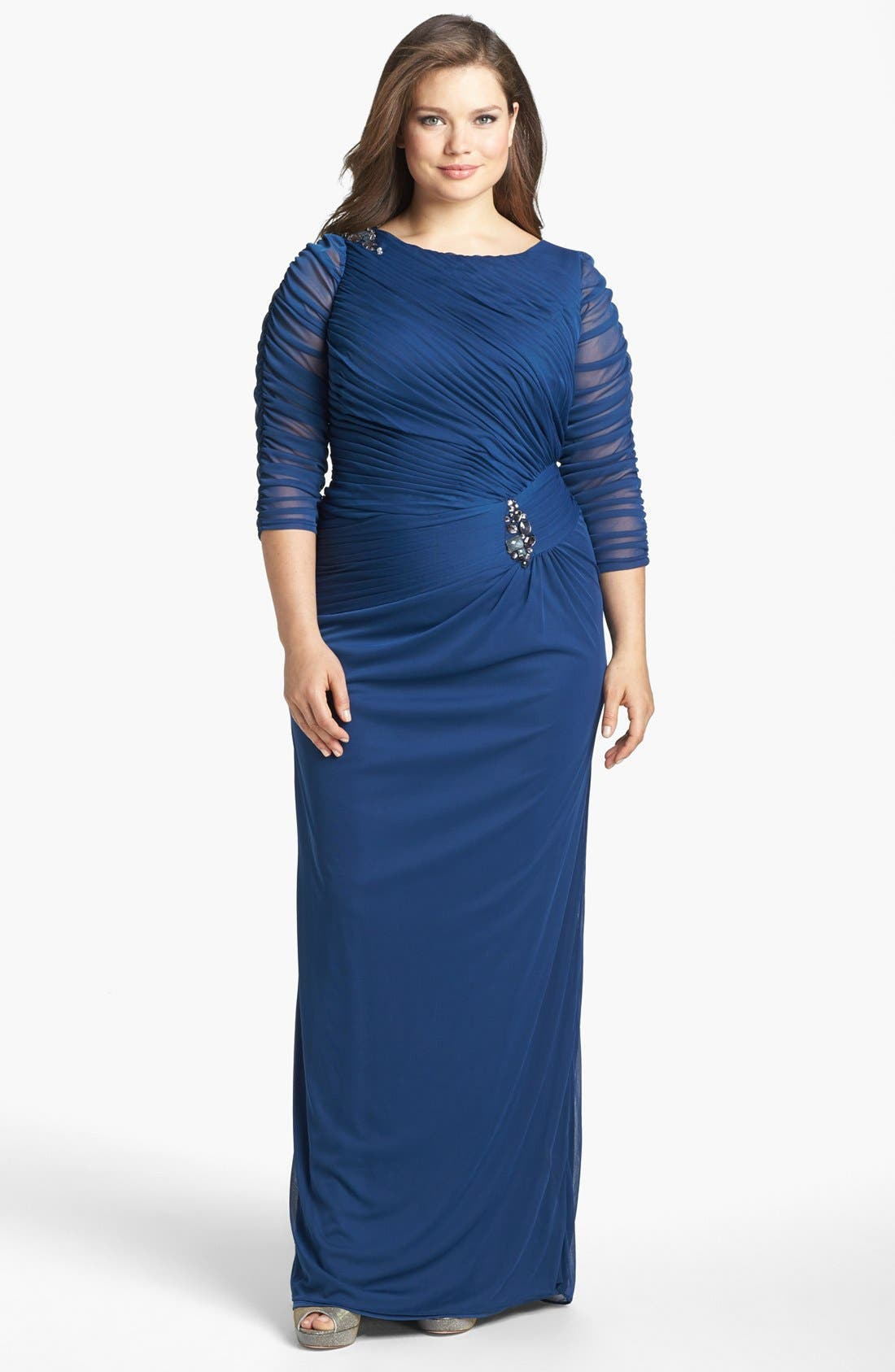 Main Image - Adrianna Papell Brooch Embellished Ruched Mesh Gown (Plus Size)