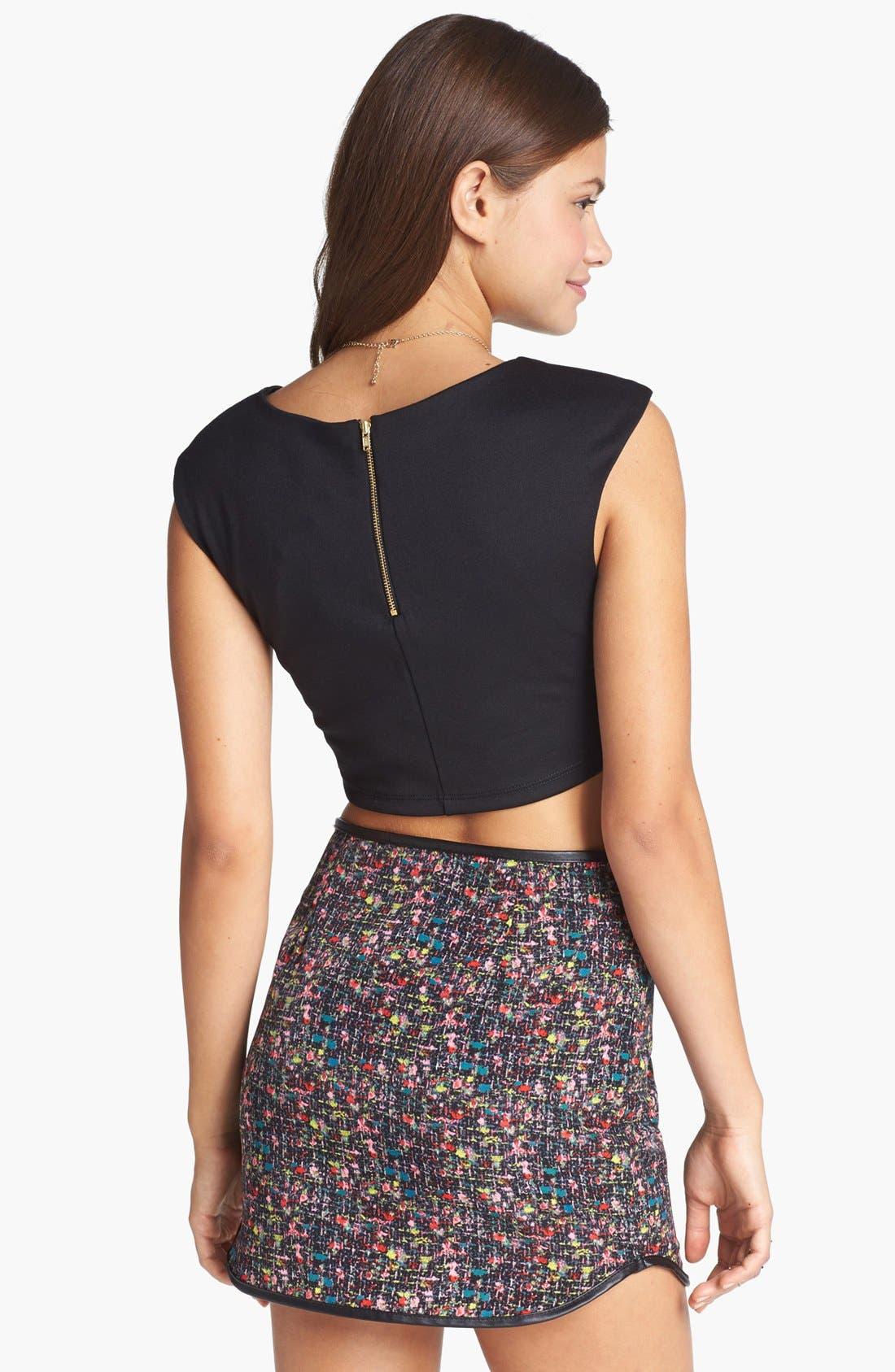 Alternate Image 2  - Lush Tweed Print Miniskirt (Juniors) (Online Only)