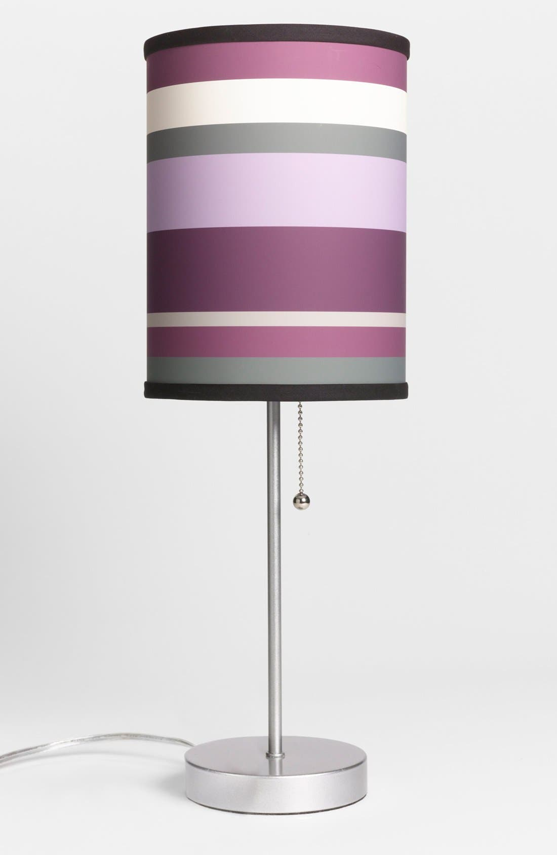 Alternate Image 1 Selected - LAMP-IN-A-BOX Purple Striped Table Lamp