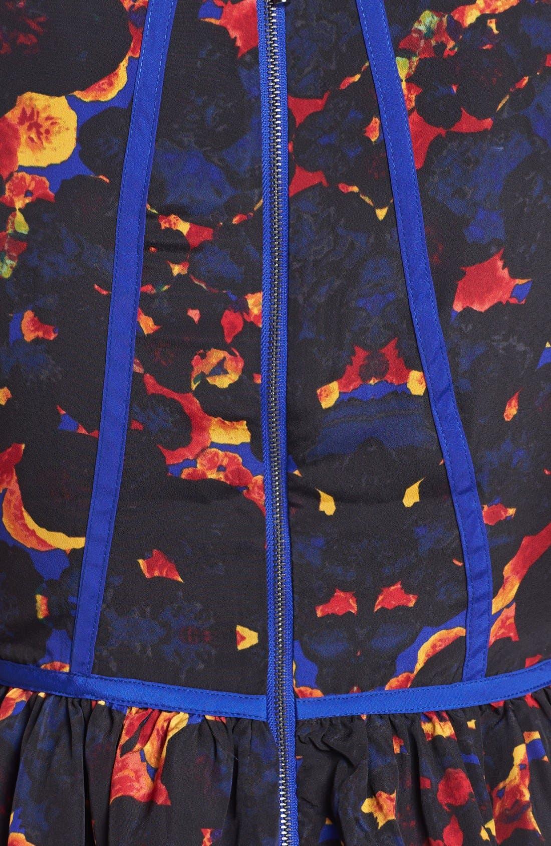 Alternate Image 3  - kensie Contrast Trim Floral Fit & Flare Dress