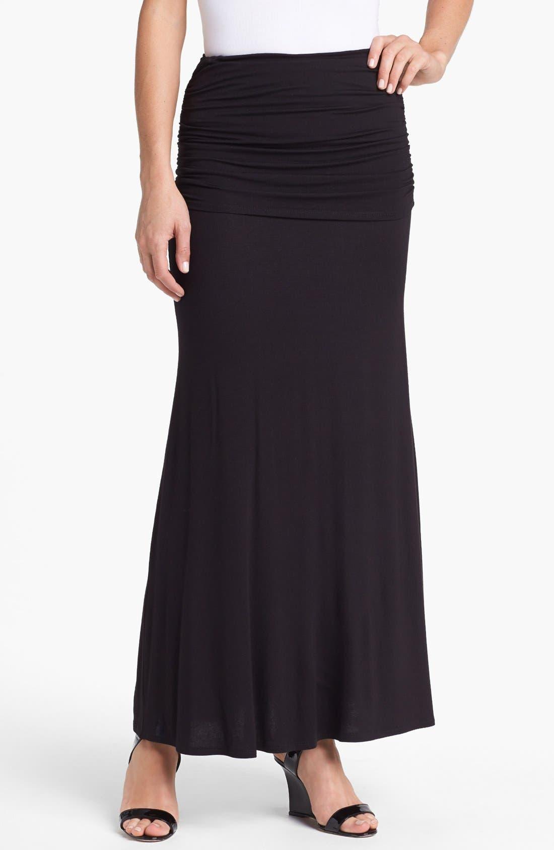 Main Image - Loveappella Foldover Maxi Skirt (Petite)