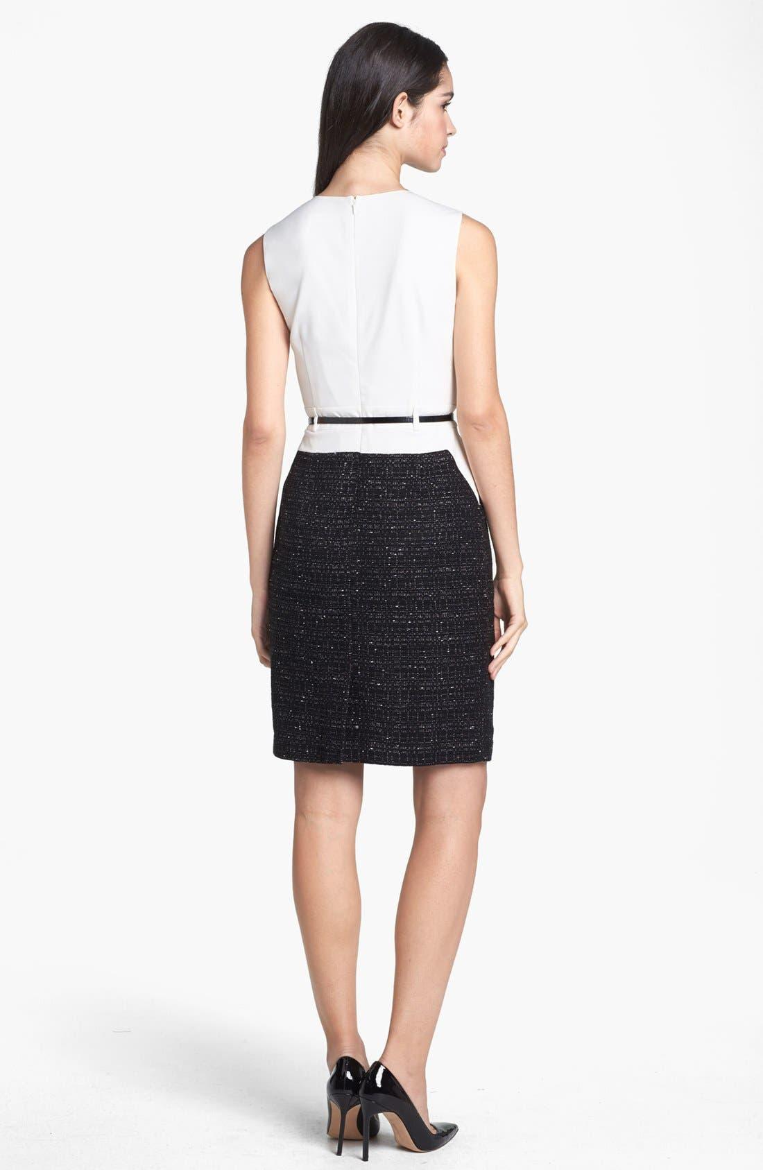 Alternate Image 2  - Calvin Klein Mixed Media Sheath Dress