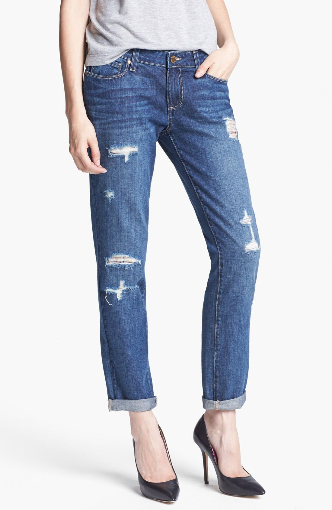 Alternate Image 1 Selected - Paige Denim 'Jimmy Jimmy' Distressed Straight Leg Jeans (Riot)