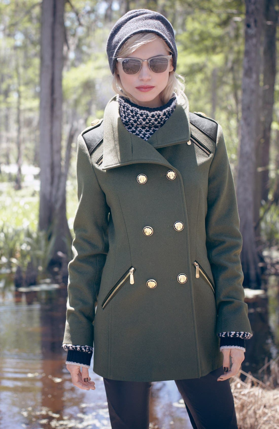 Alternate Image 2  - Vince Camuto Wool Blend Military Peacoat (Petite)