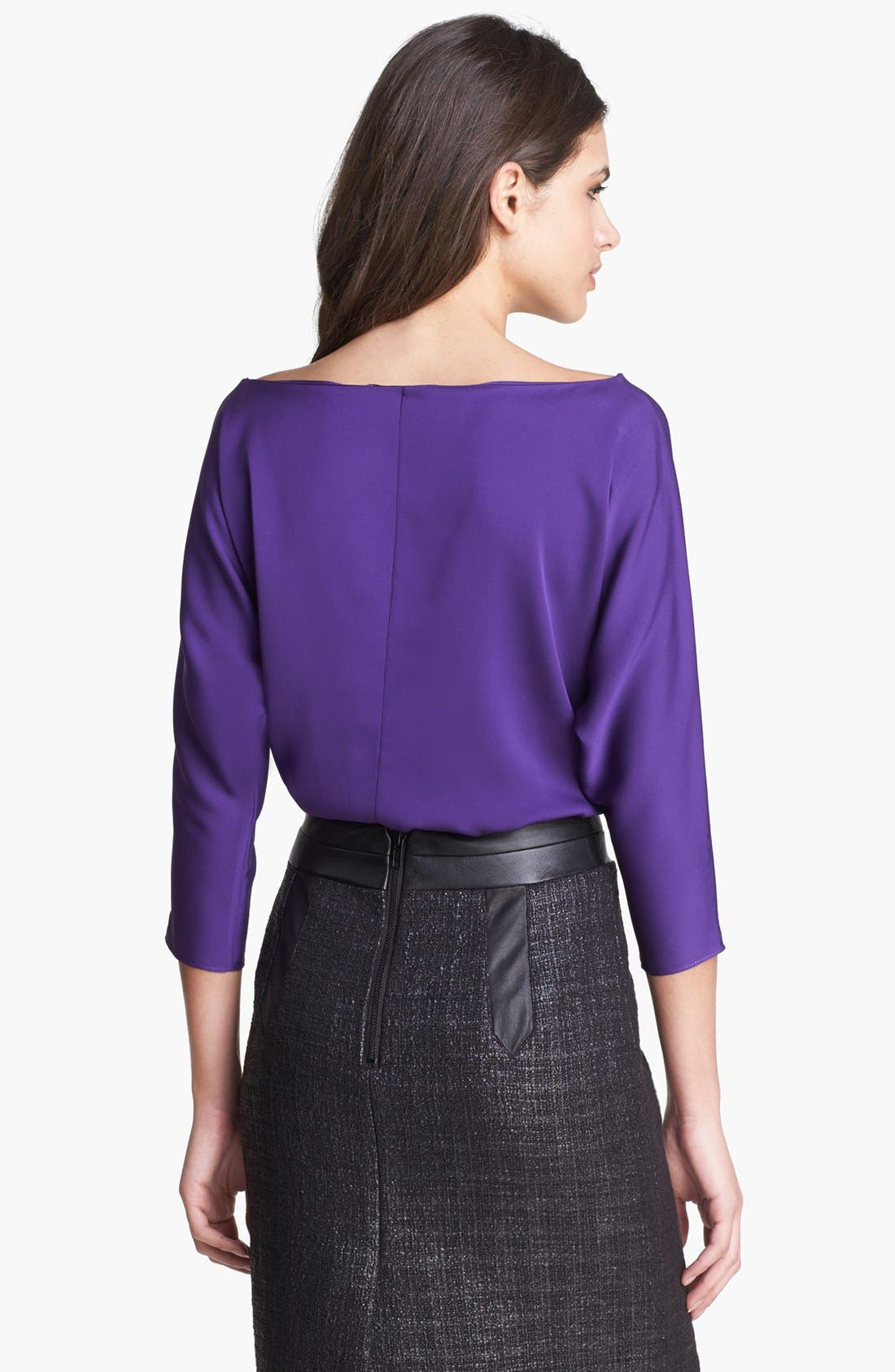 Alternate Image 2  - Milly Dolman Sleeve Stretch Silk Top