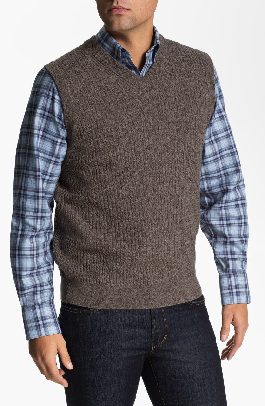 Alternate Image 1 Selected - Nordstrom Cable Knit Merino Wool Sweater Vest